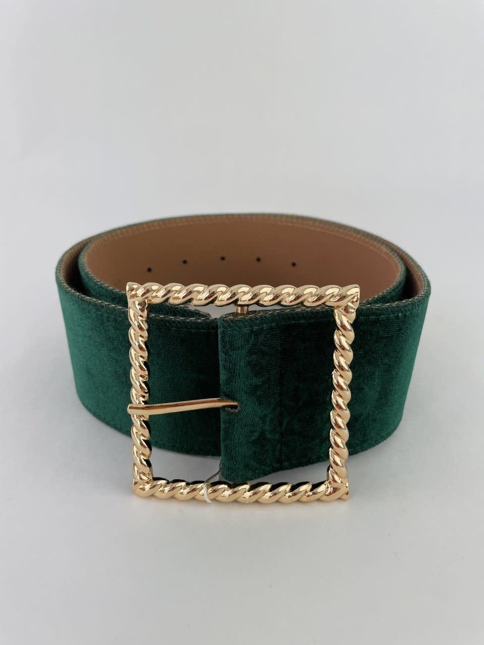 Ebony velvet statement belt Pine-2