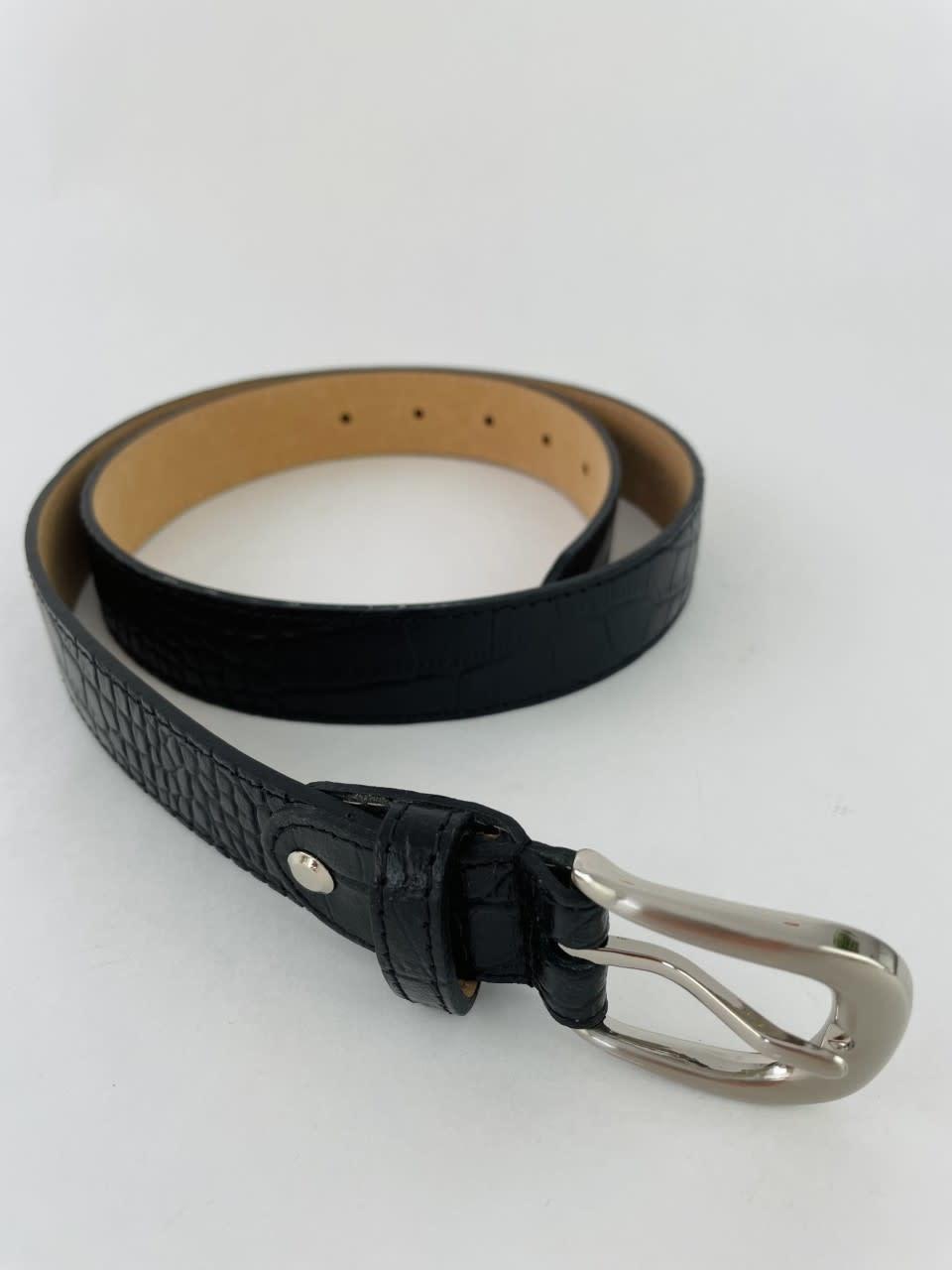 Onida leather croco belt Black-1