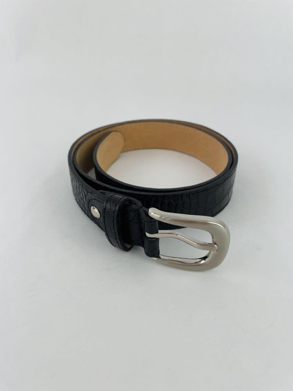 Onida leather croco belt Black-2
