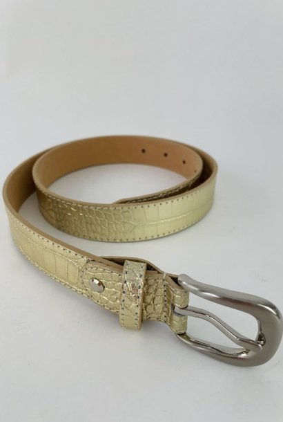 Onida leather croco belt Gold