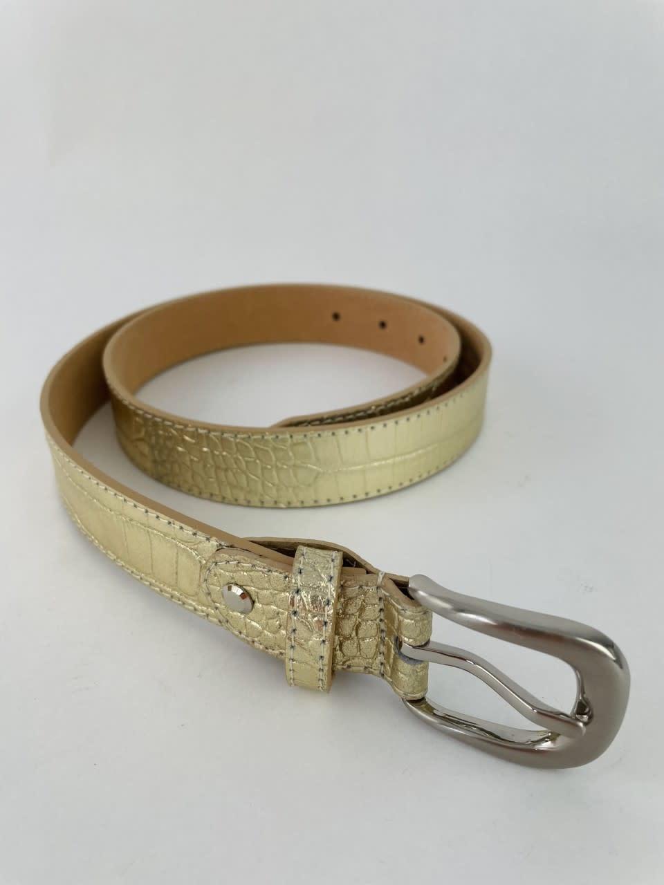 Onida leather croco belt Gold-1