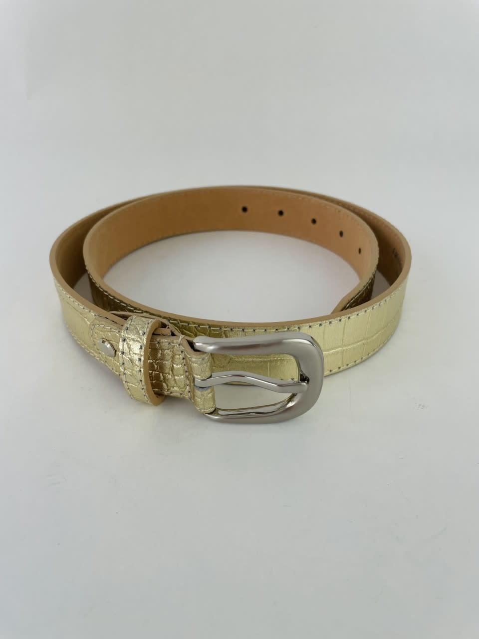 Onida leather croco belt Gold-2