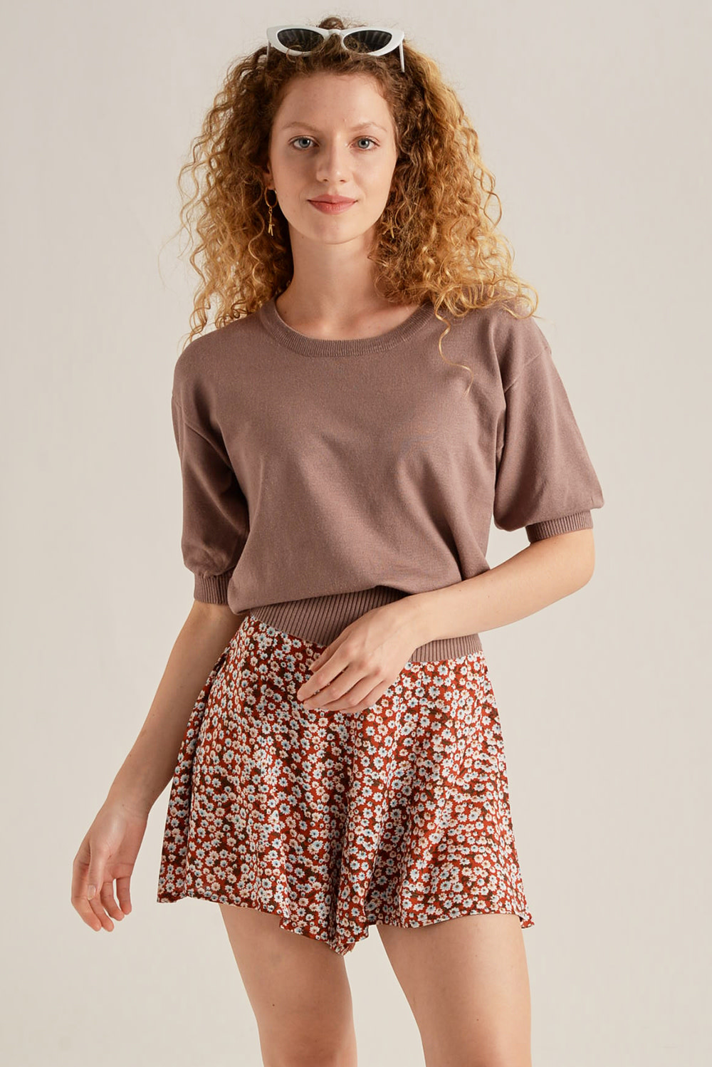 Lolita knitted s/s pullover Taupe-1