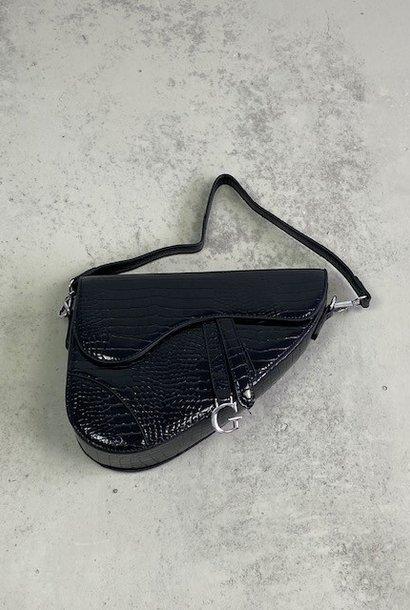Chenton croco bag Black