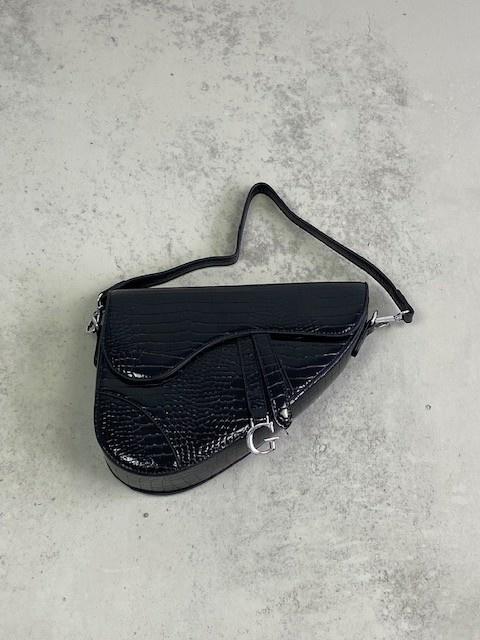 Chenton croco bag Black-1