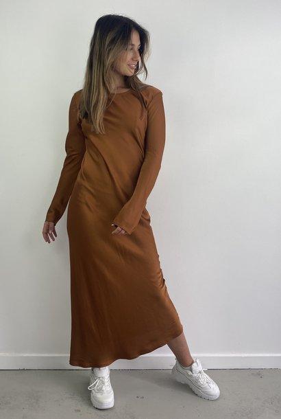 Sidone satin long dress Camel