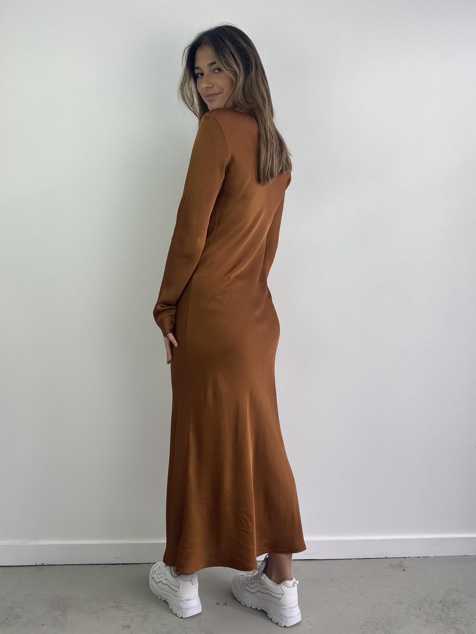 Sidone satin long dress Camel-2