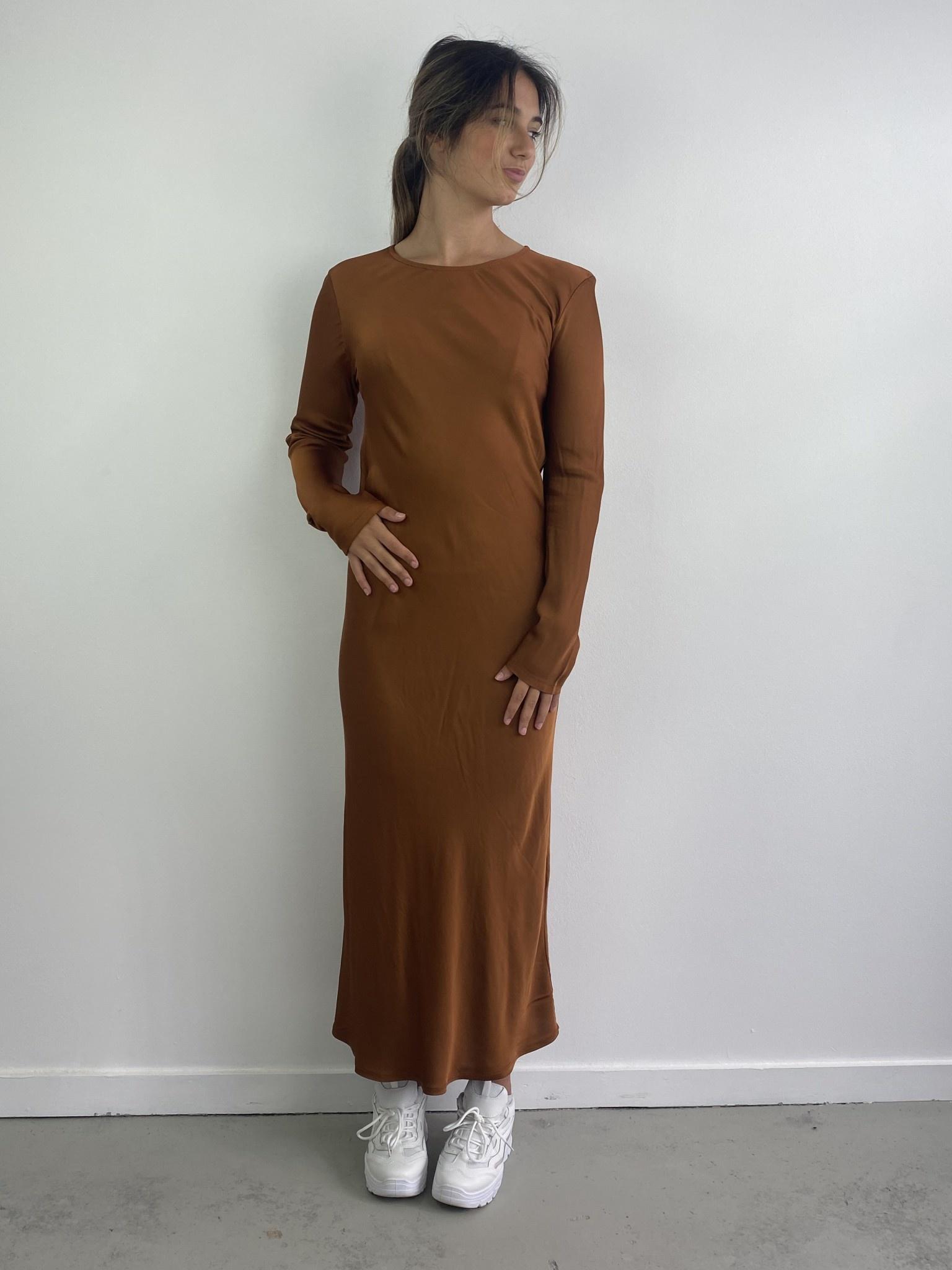 Sidone satin long dress Camel-3