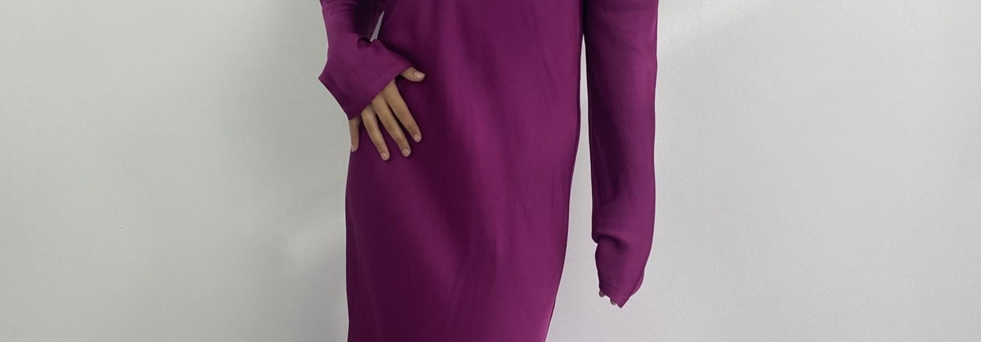 Sidone satin long dress Violet