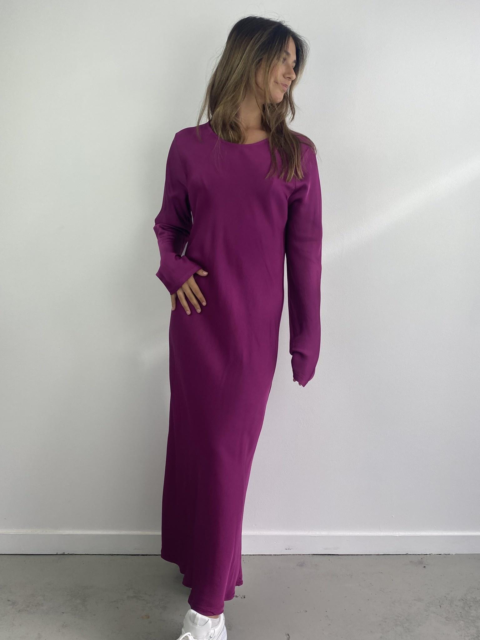 Sidone satin long dress Violet-1