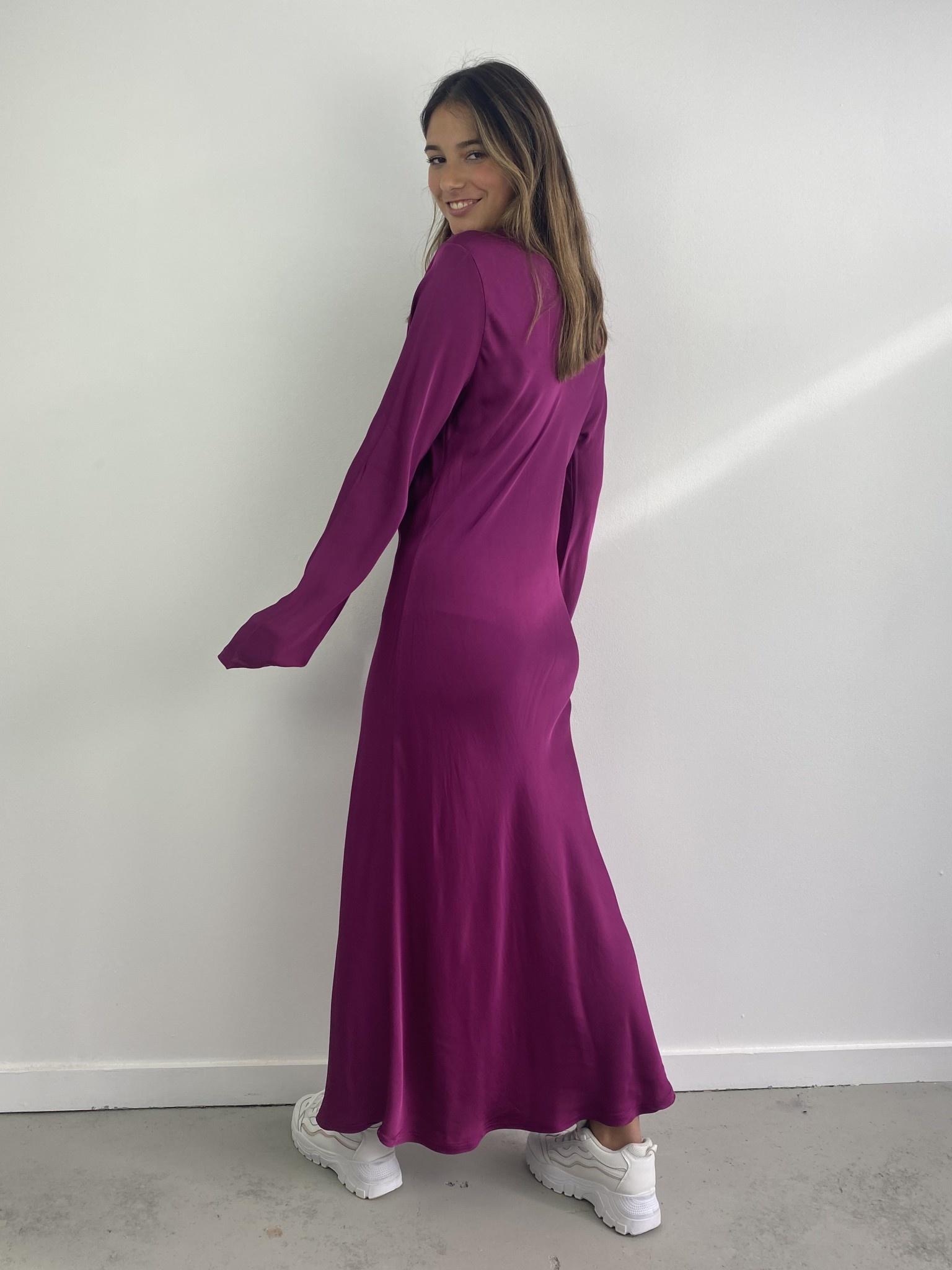 Sidone satin long dress Violet-2