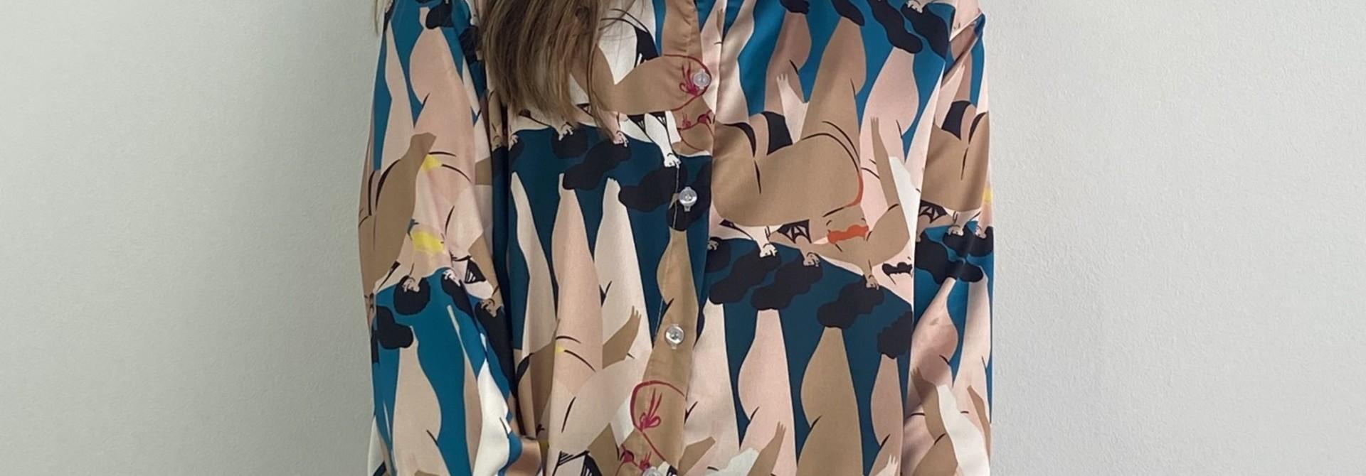 Ladame oversized satin blouse Petrol