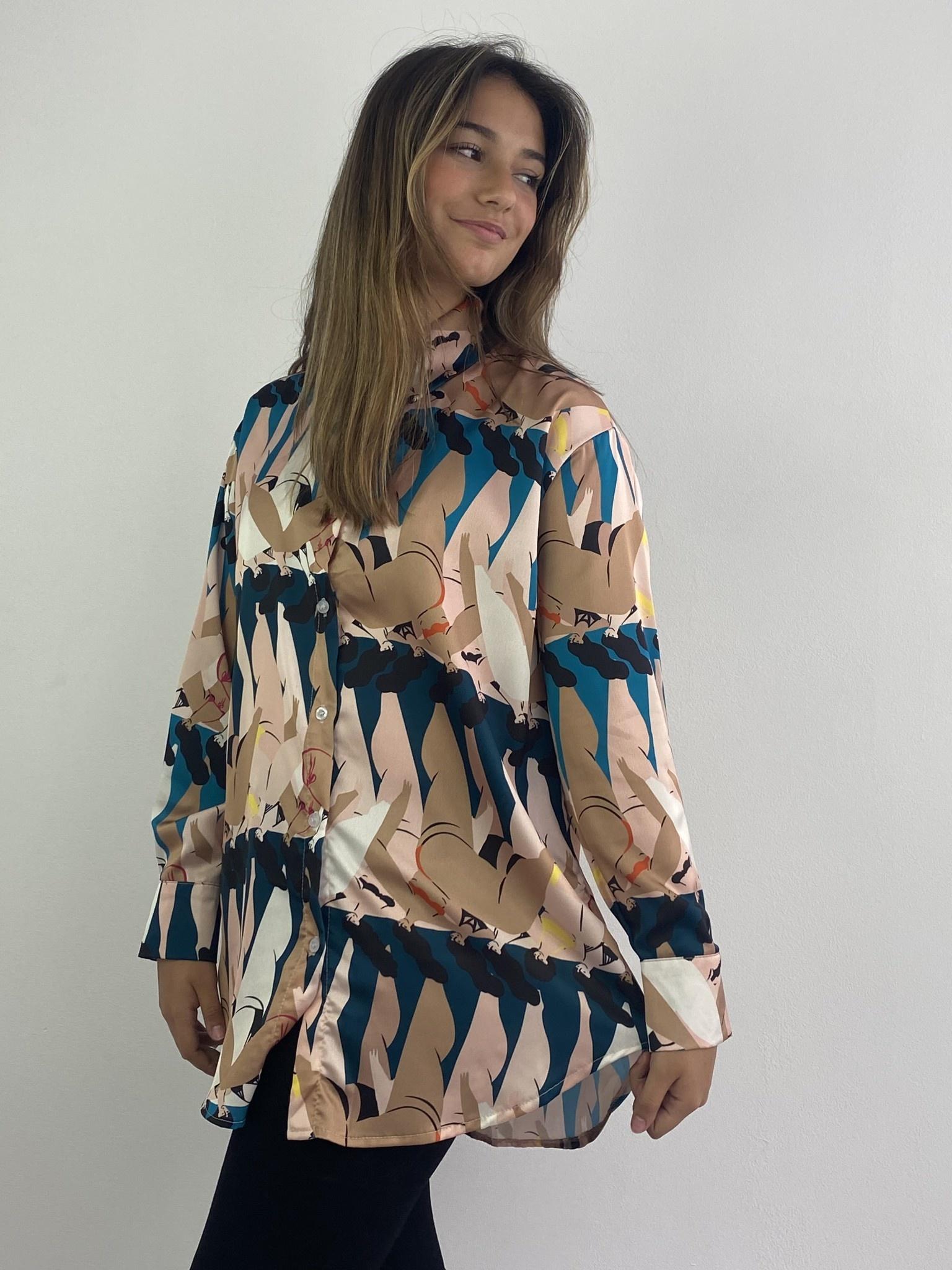 Ladame oversized satin blouse Petrol-2