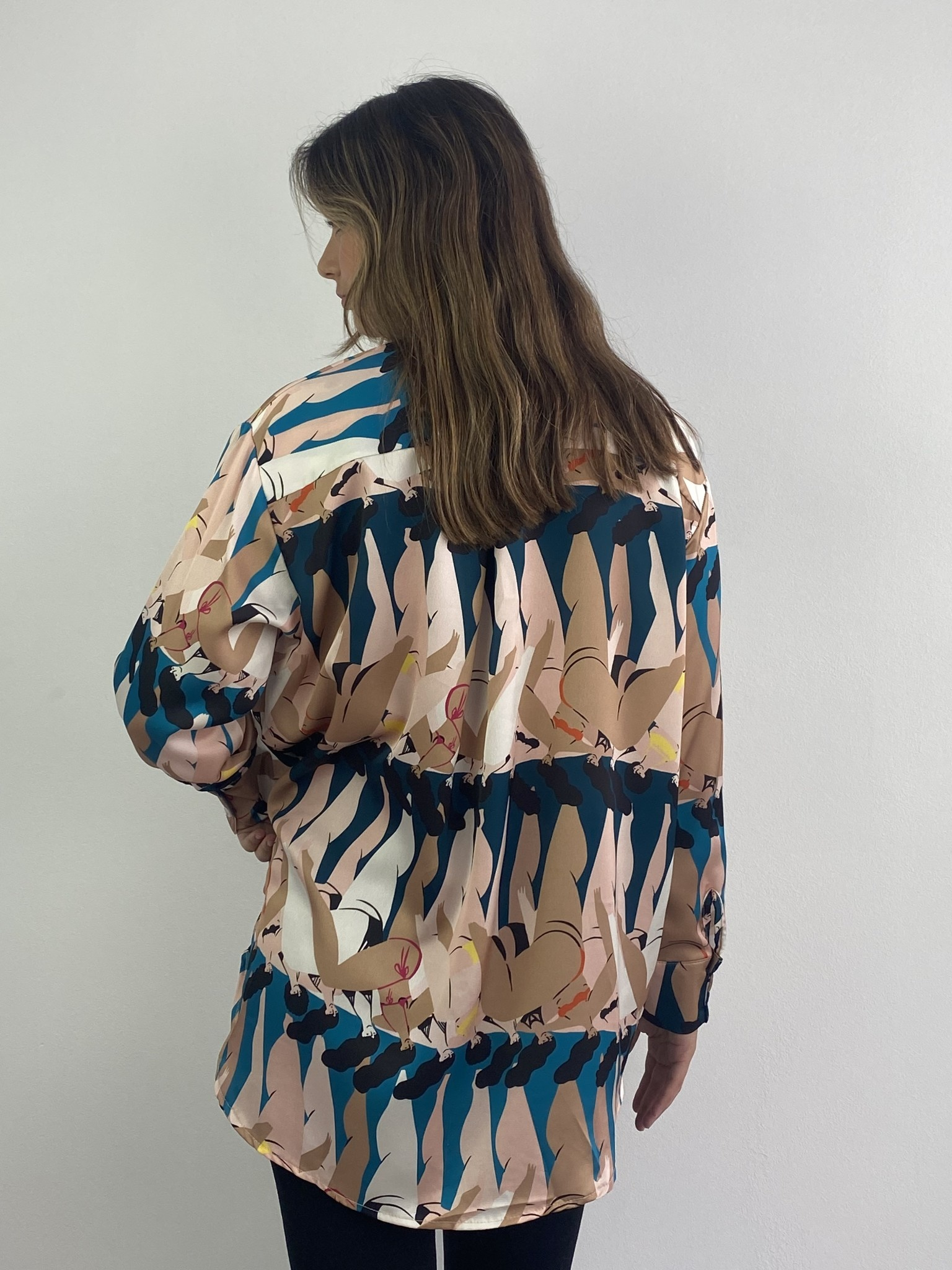 Ladame oversized satin blouse Petrol-4