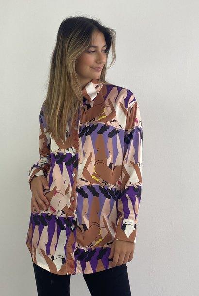Ladame oversized satin blouse Purple