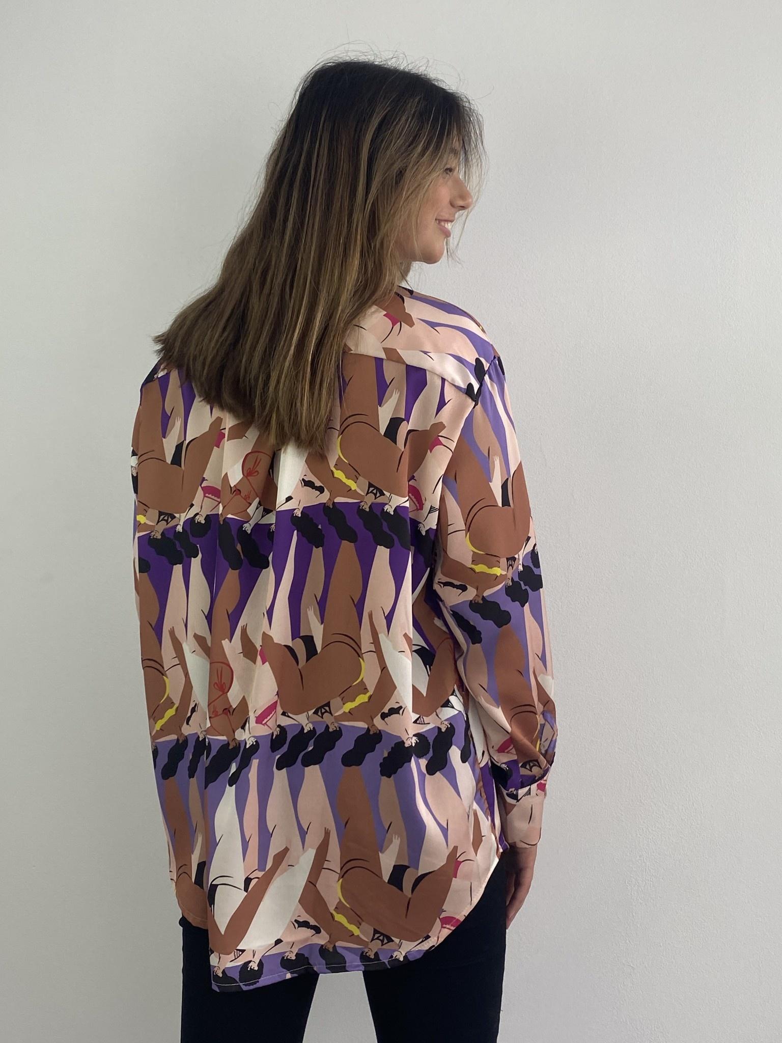Ladame oversized satin blouse Purple-2