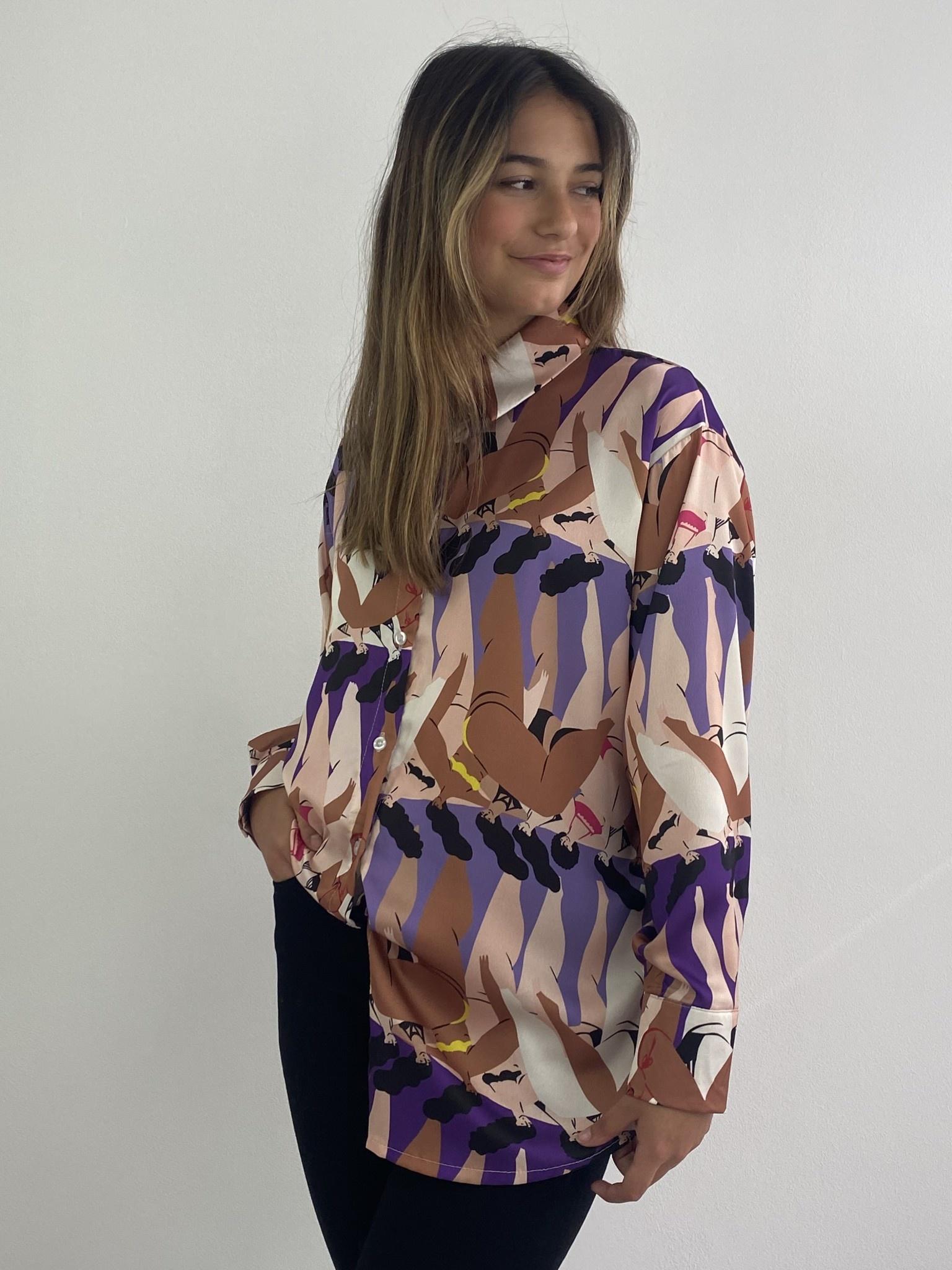 Ladame oversized satin blouse Purple-3