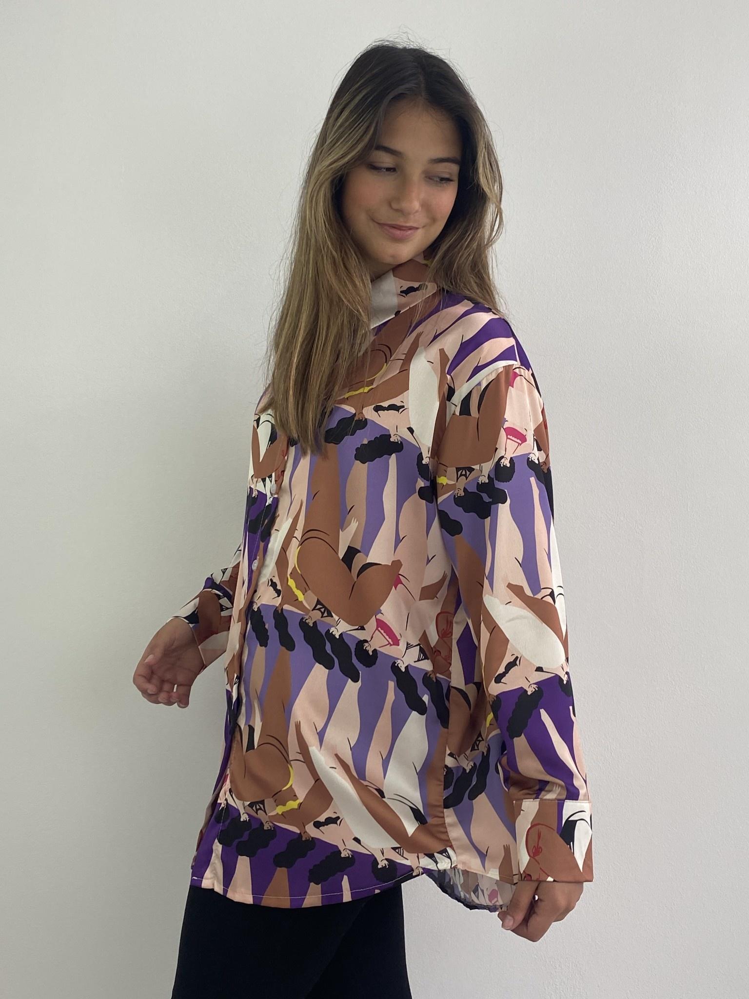 Ladame oversized satin blouse Purple-4