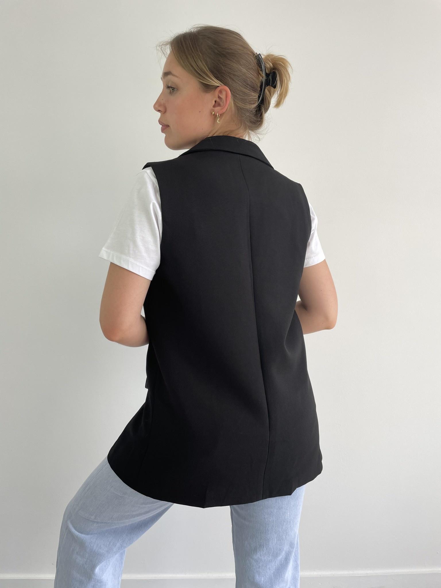 Romy sleeveless blazer Black-4