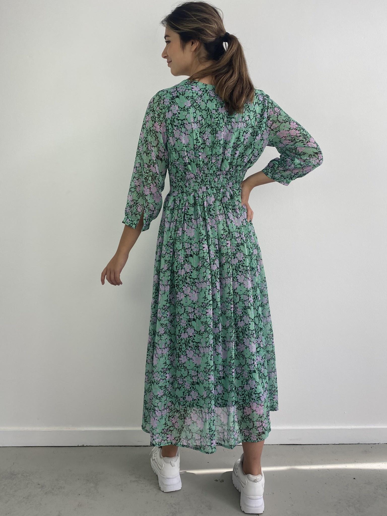 Belinay flower midi dress Green-3