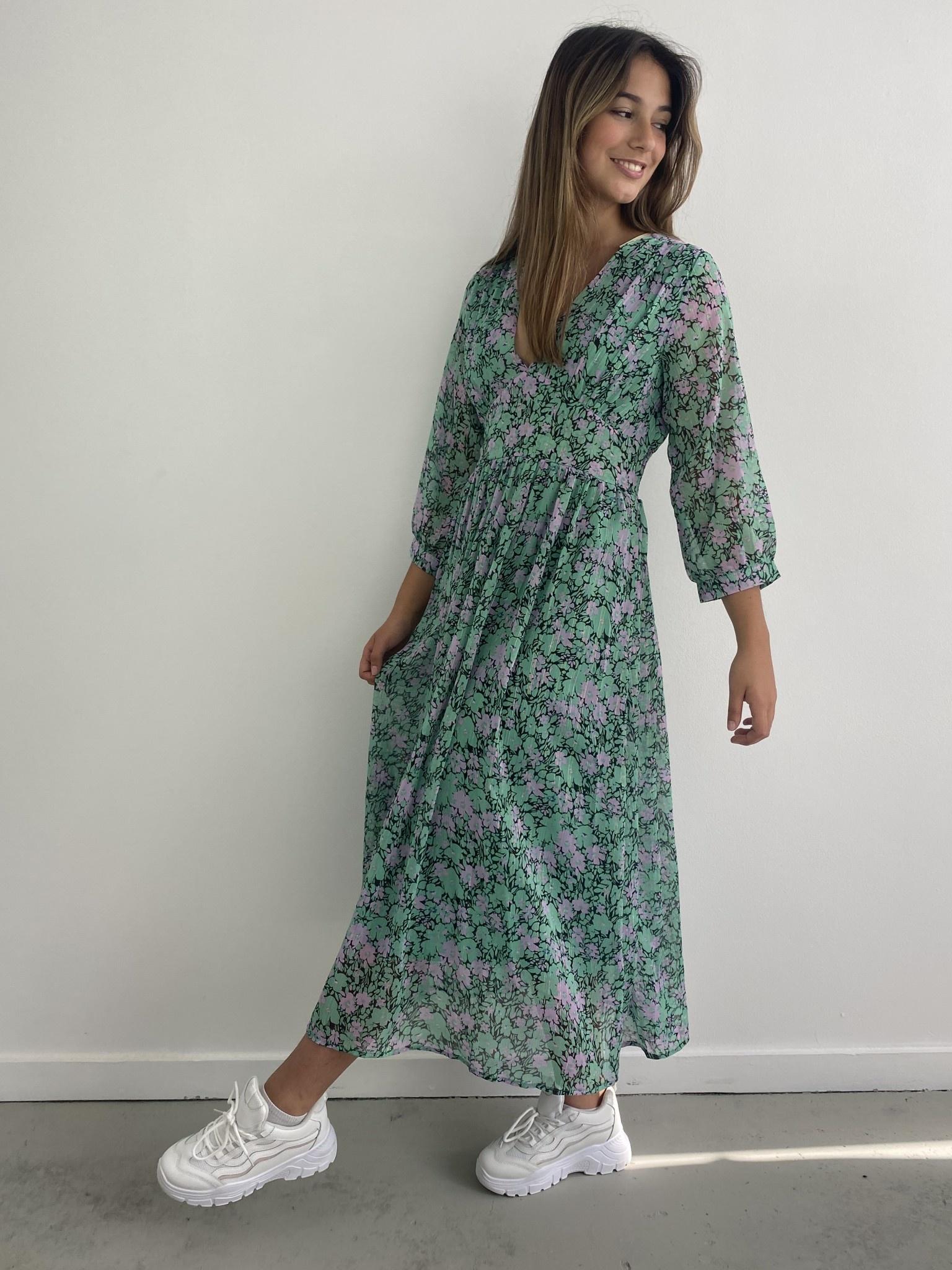 Belinay flower midi dress Green-1