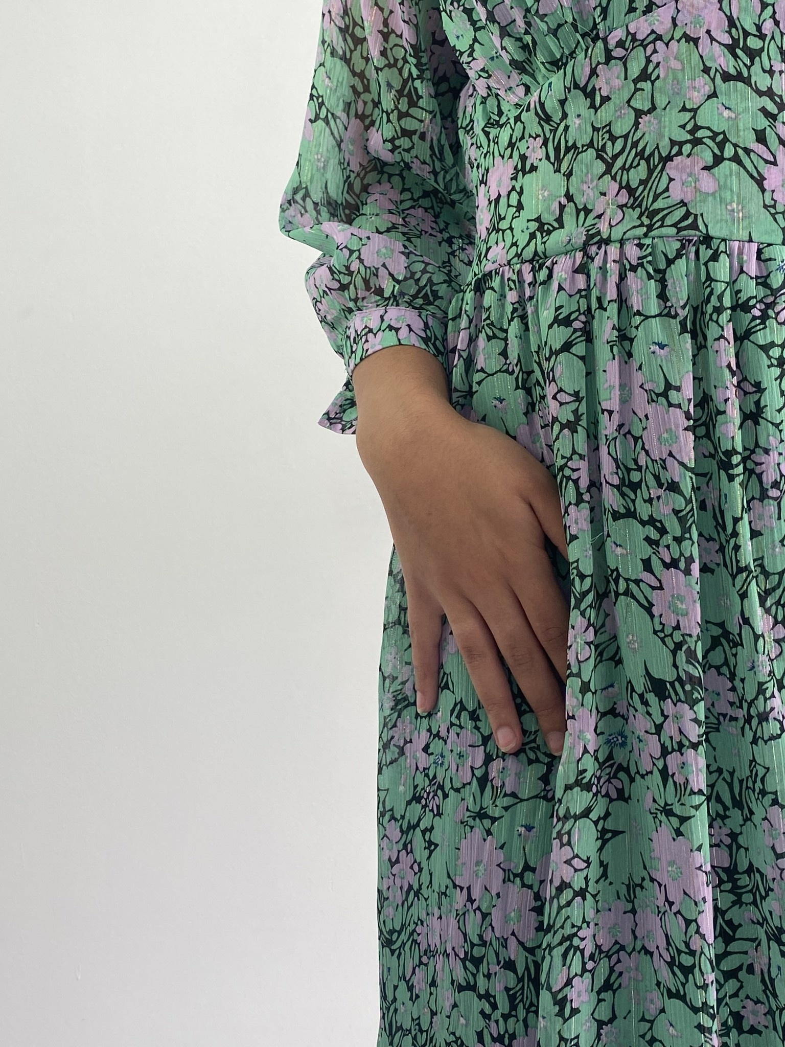 Belinay flower midi dress Green-2