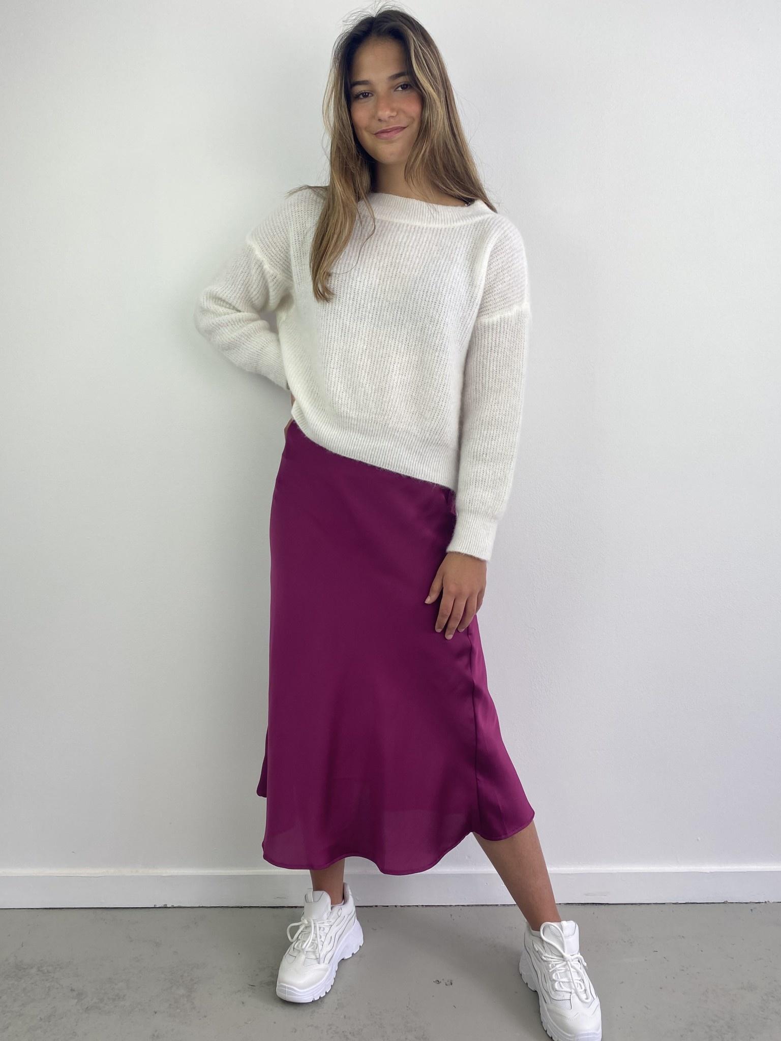 Jenna midi satin skirt Violet-3