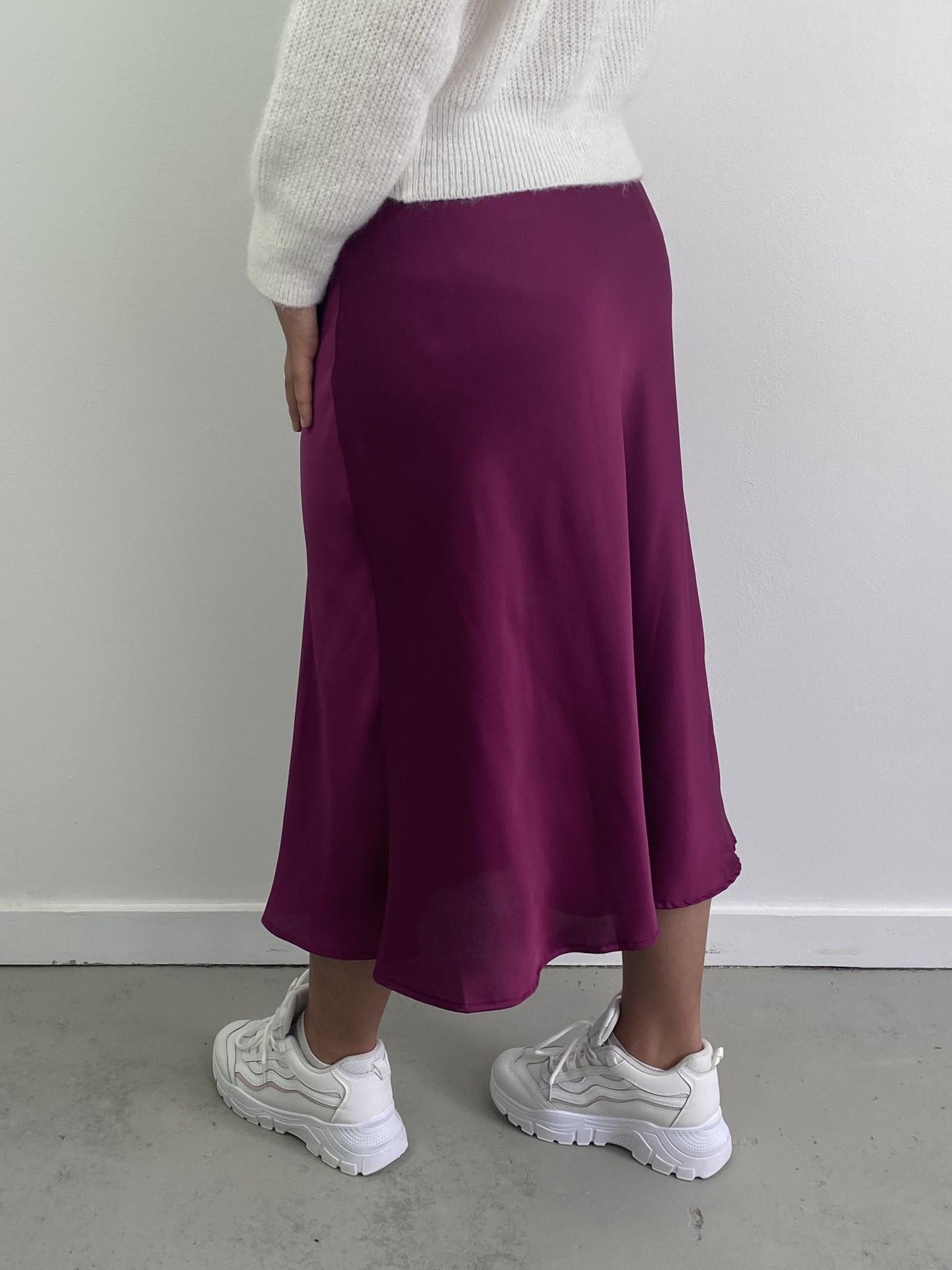 Jenna midi satin skirt Violet-4