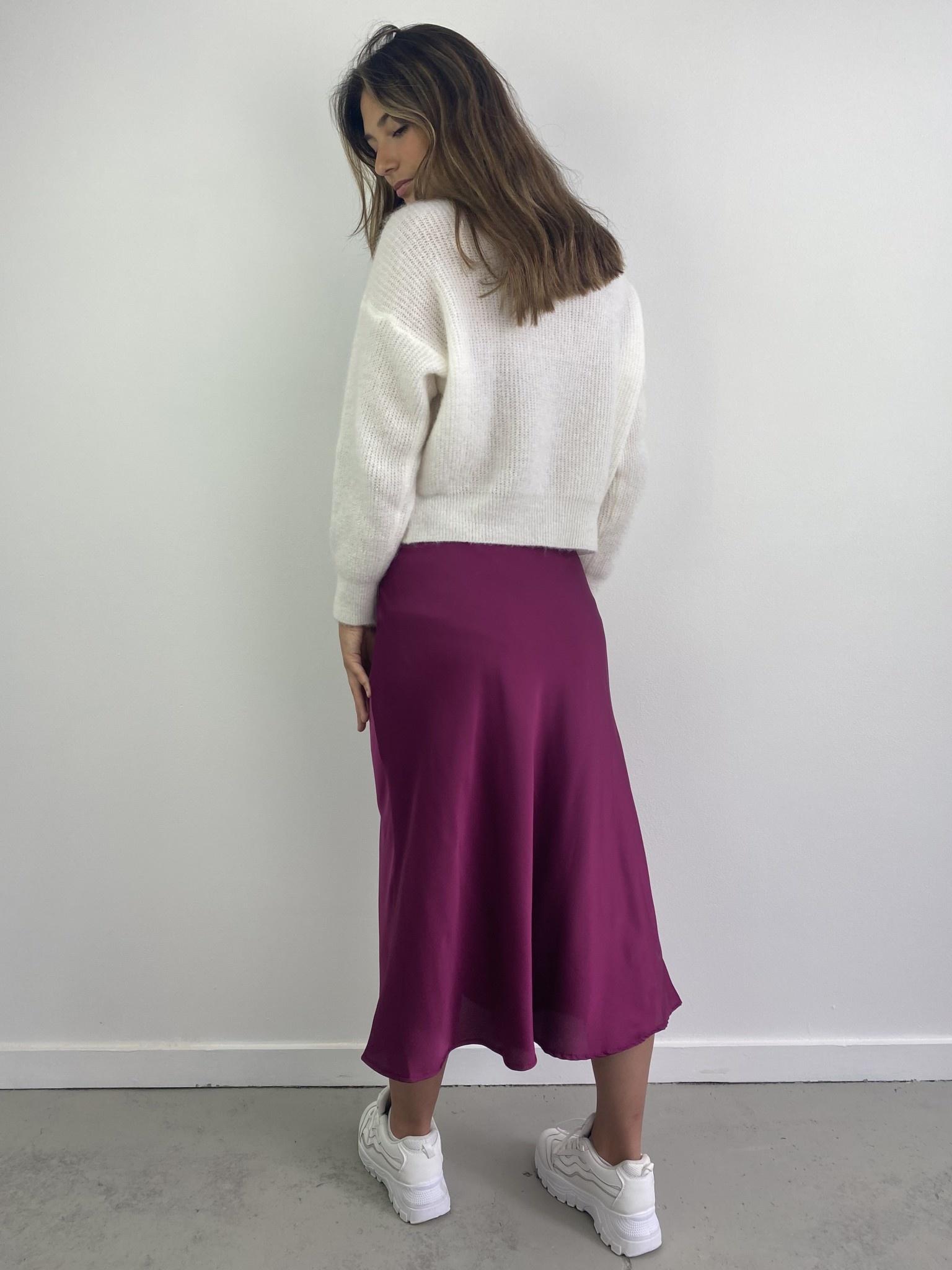 Jenna midi satin skirt Violet-5