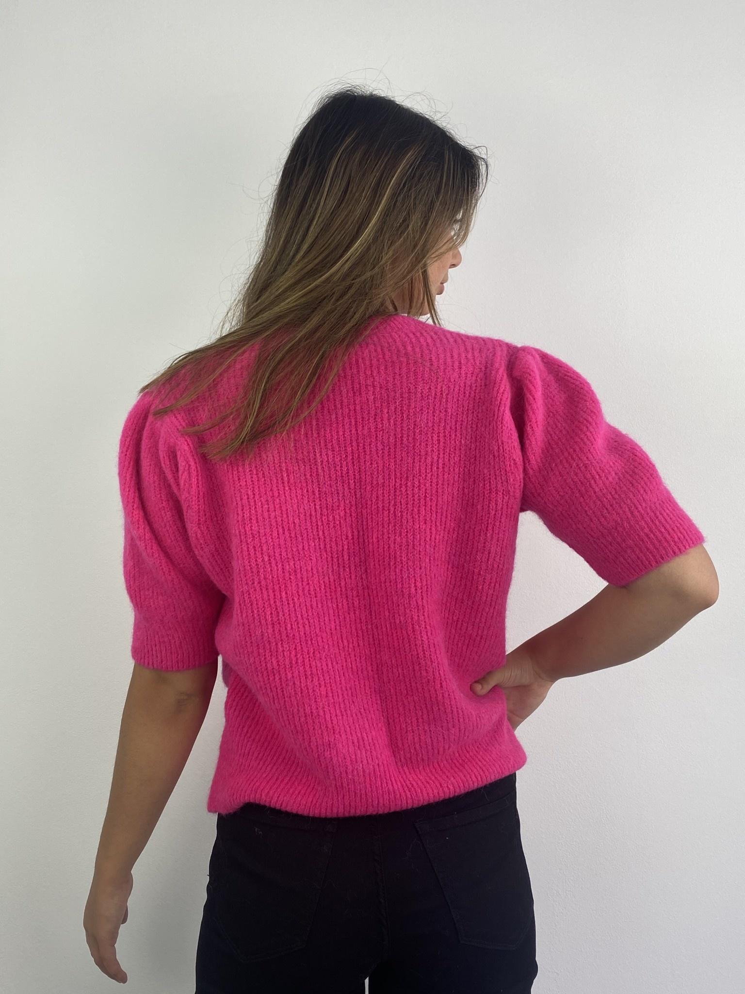 Katey soft knitted t-shirt Fushia-3