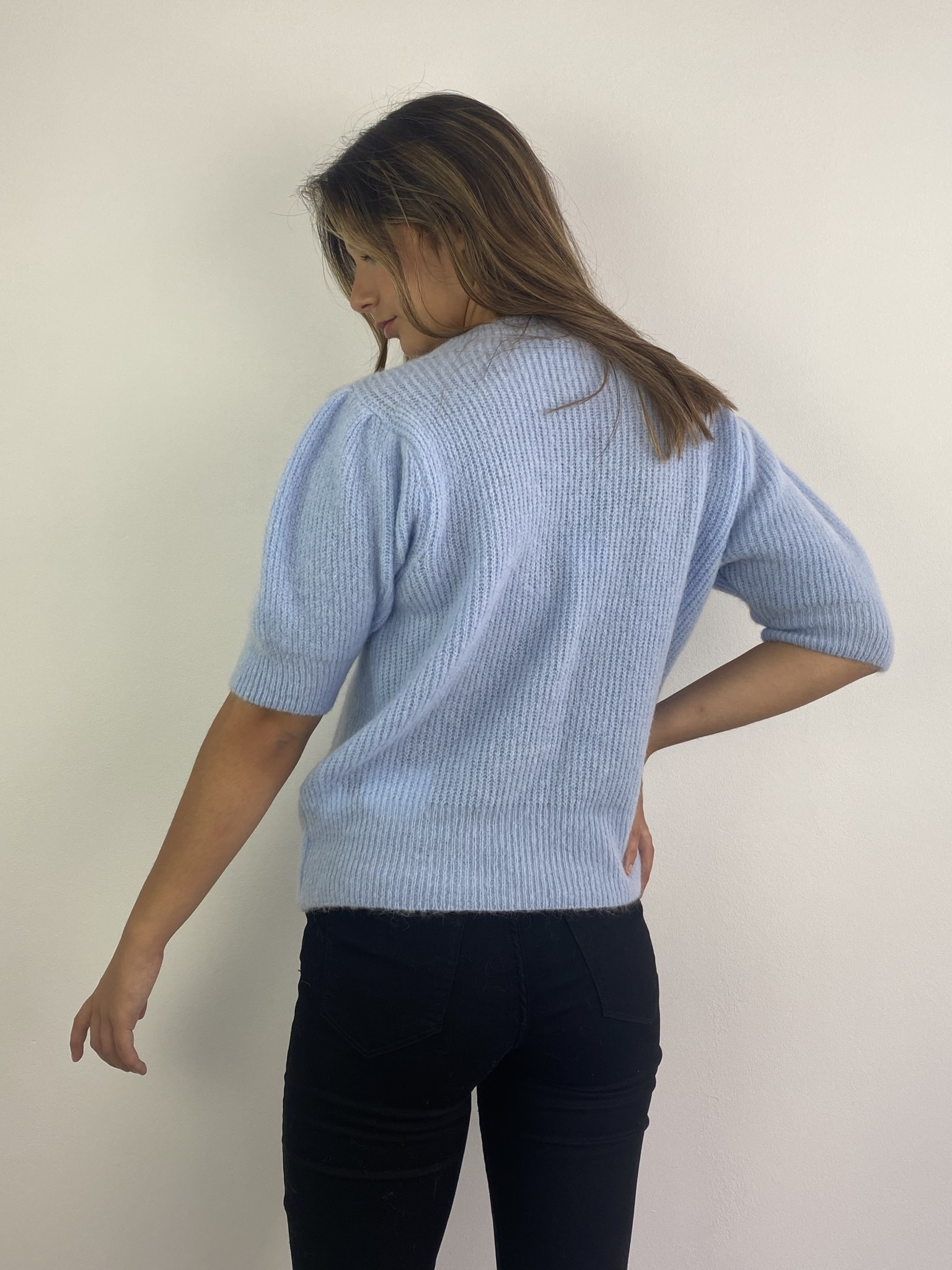 Katey soft knitted t-shirt Light Blue-3