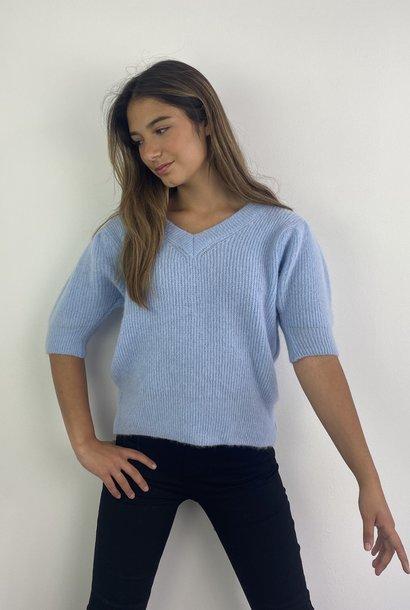 Katey soft knitted t-shirt Light Blue