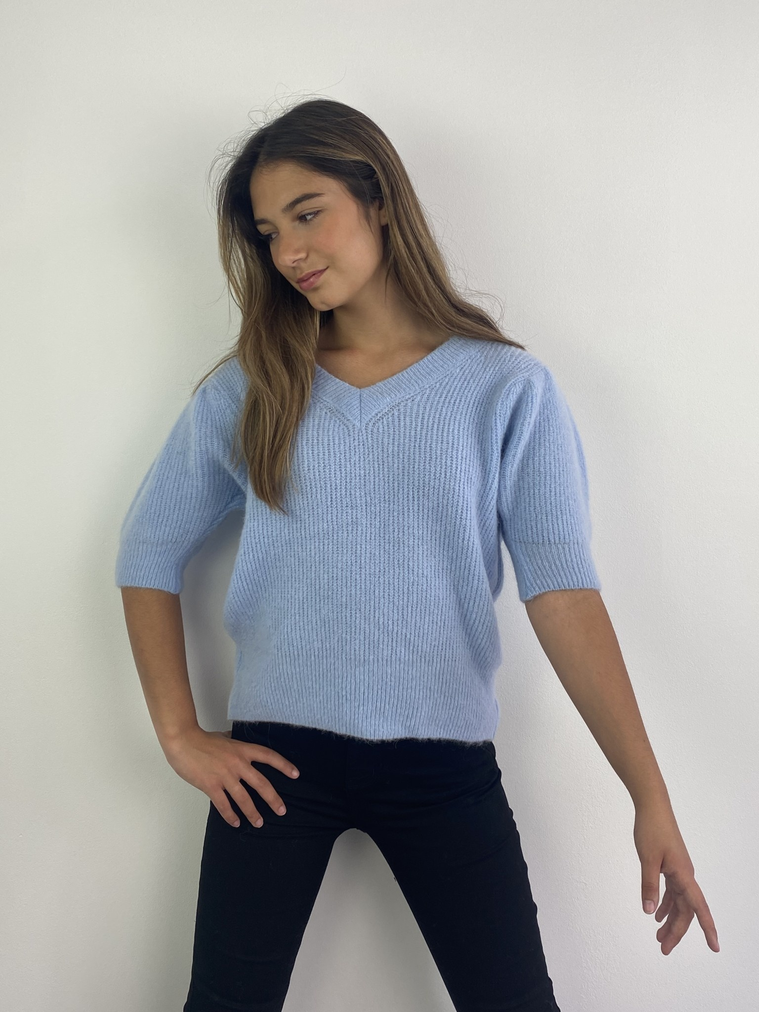 Katey soft knitted t-shirt Light Blue-1