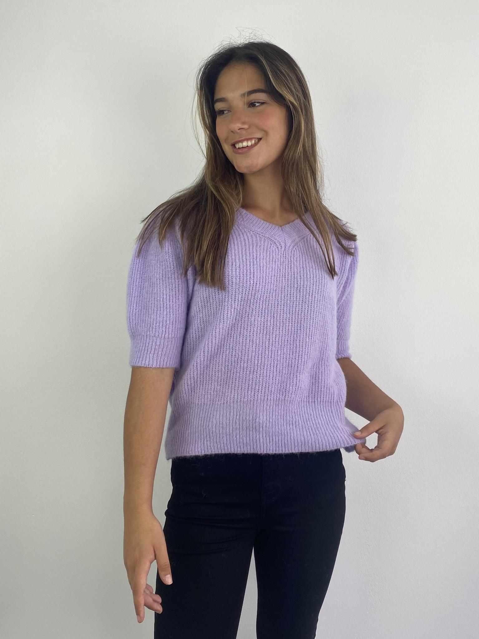 Katey soft knitted t-shirt Lila-1