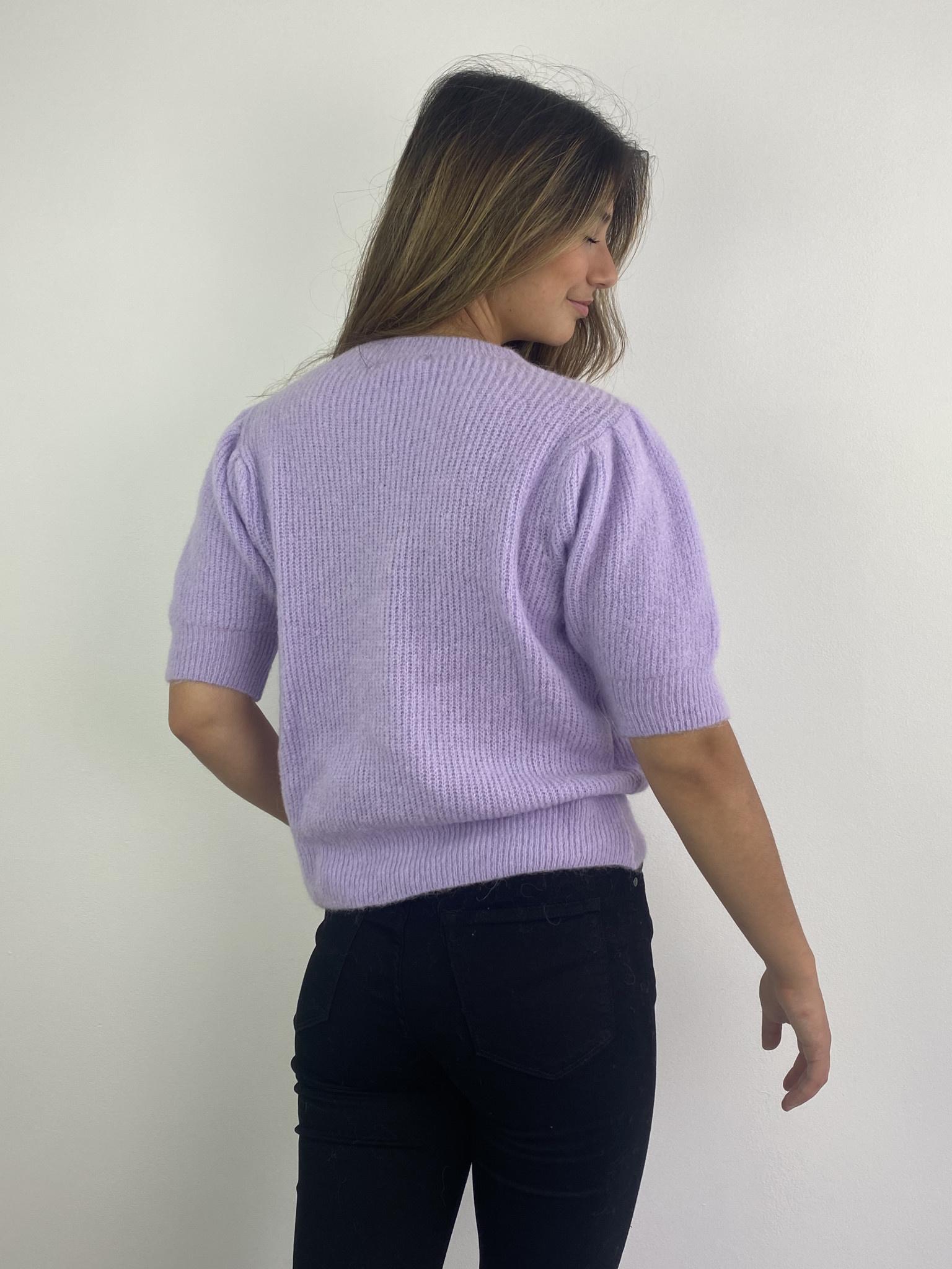 Katey soft knitted t-shirt Lila-3