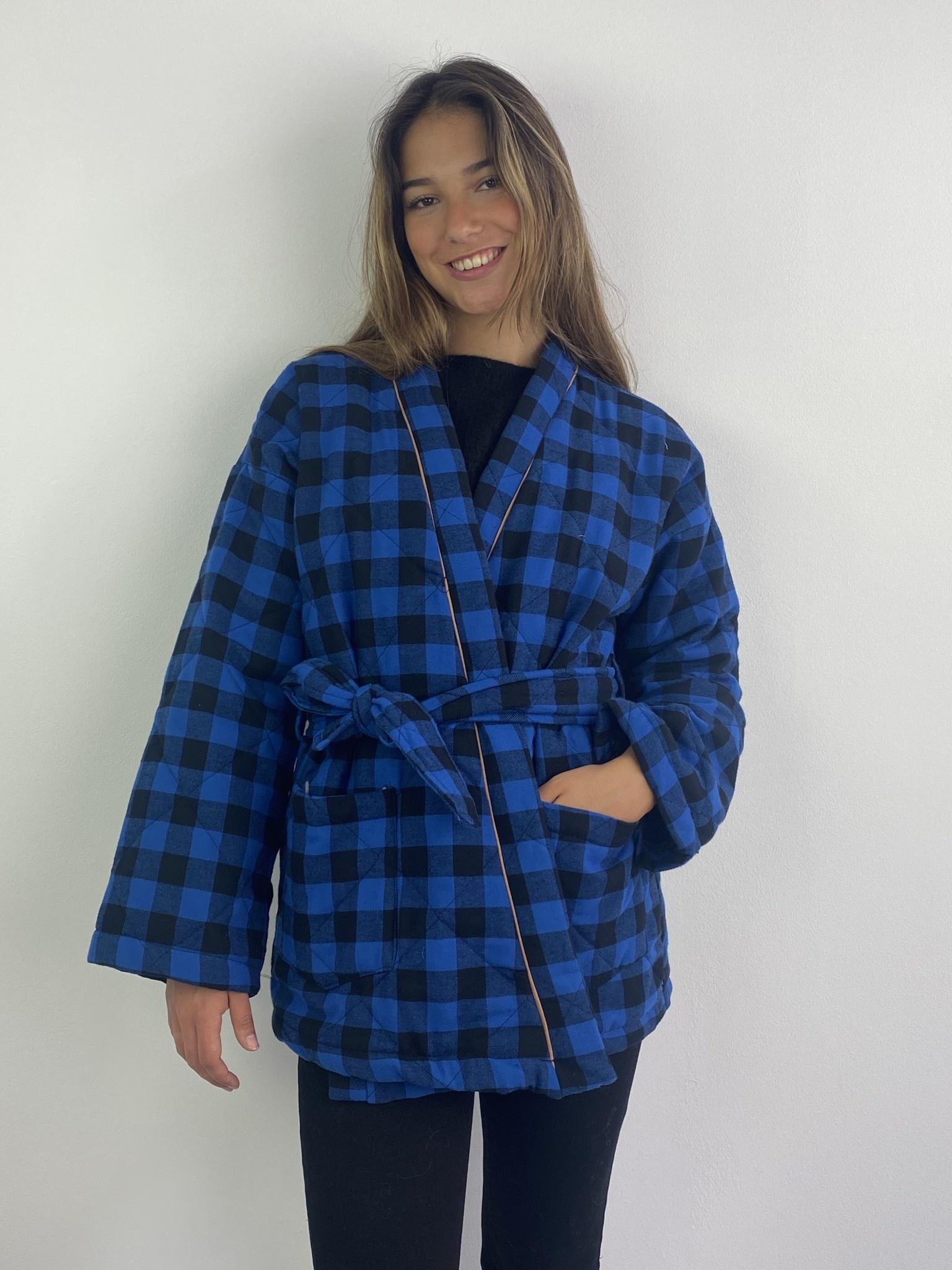 Toya padded kimono blazer Cobalt Check-2