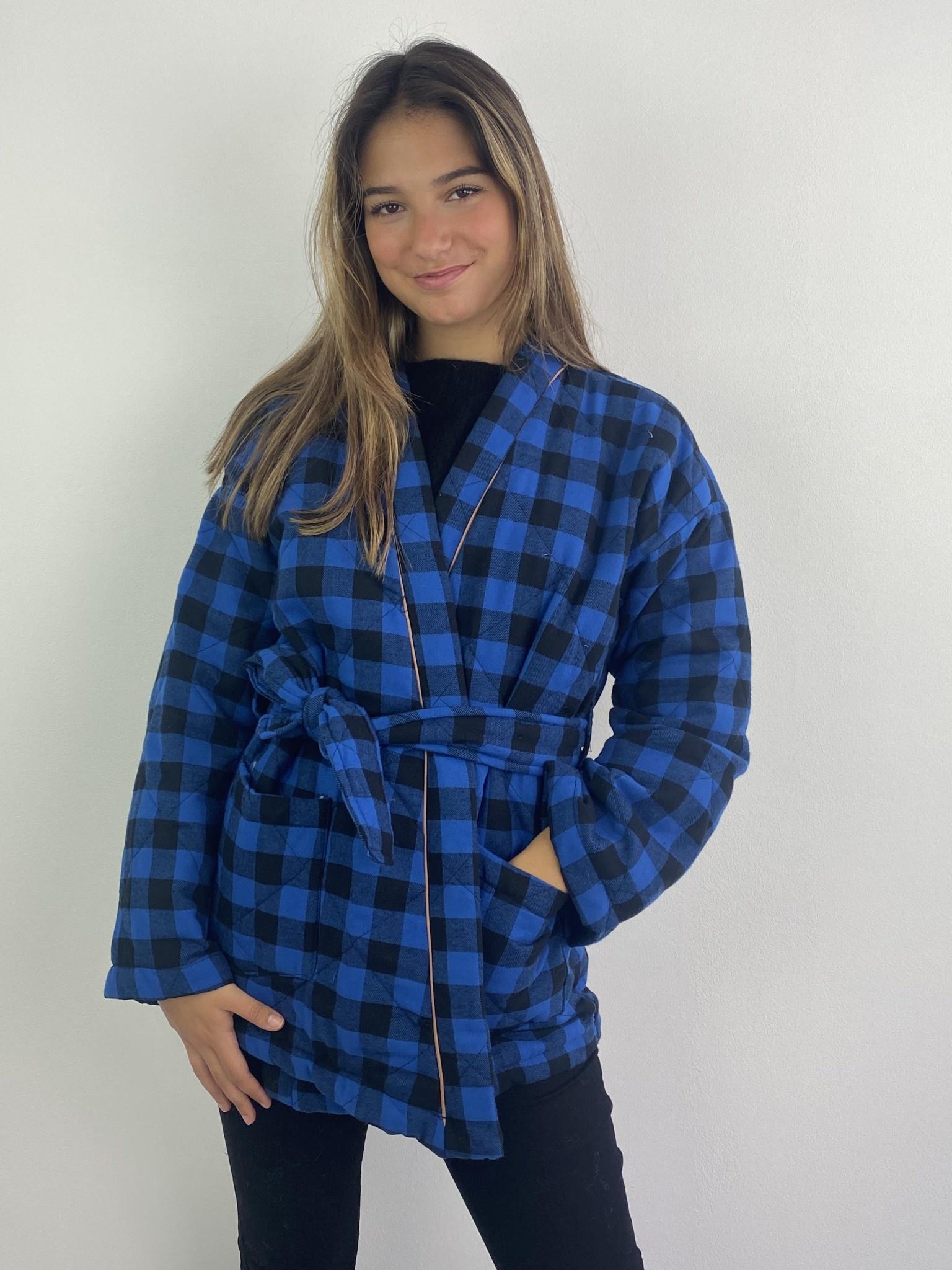 Toya padded kimono blazer Cobalt Check-4