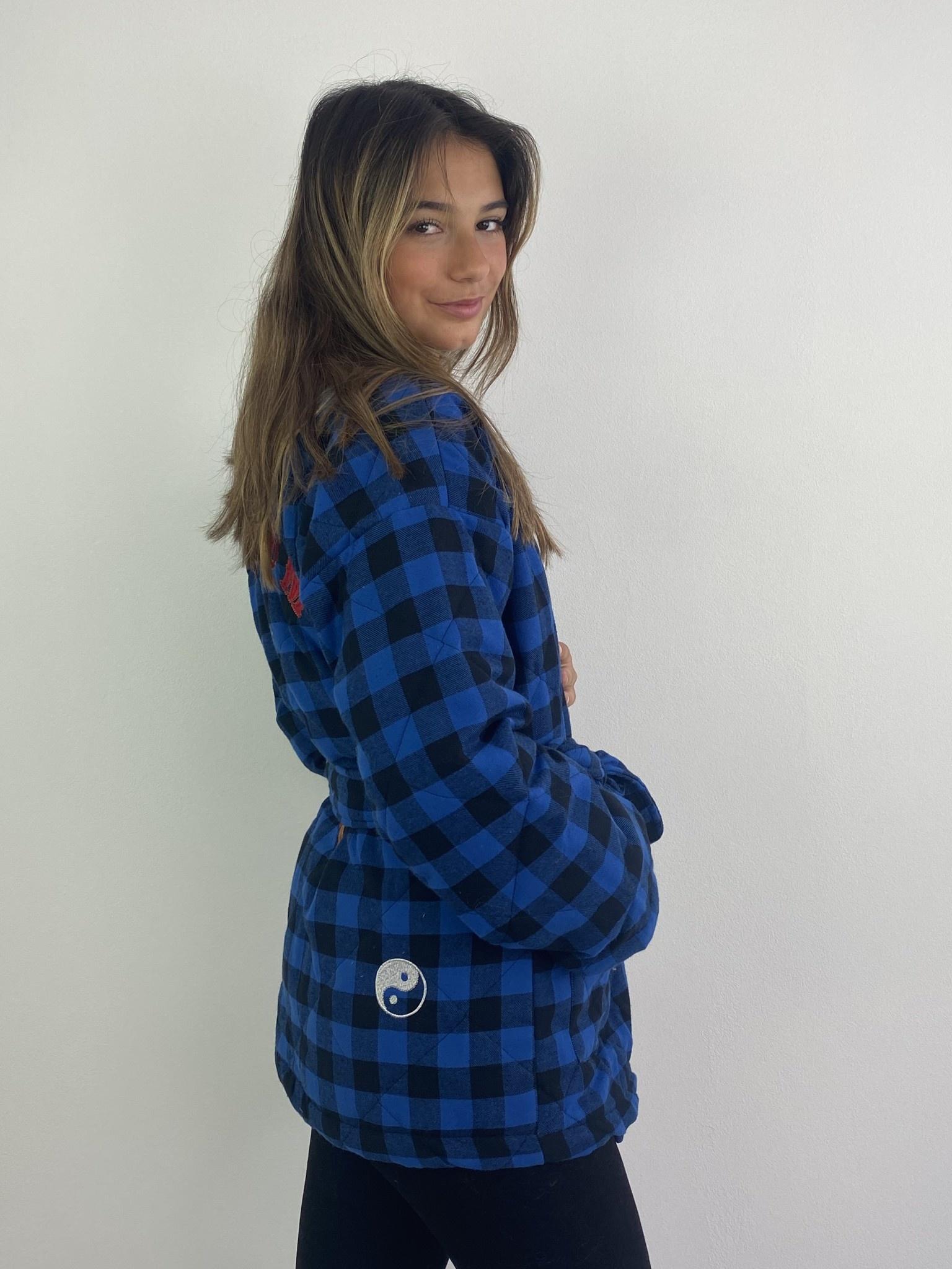 Toya padded kimono blazer Cobalt Check-3
