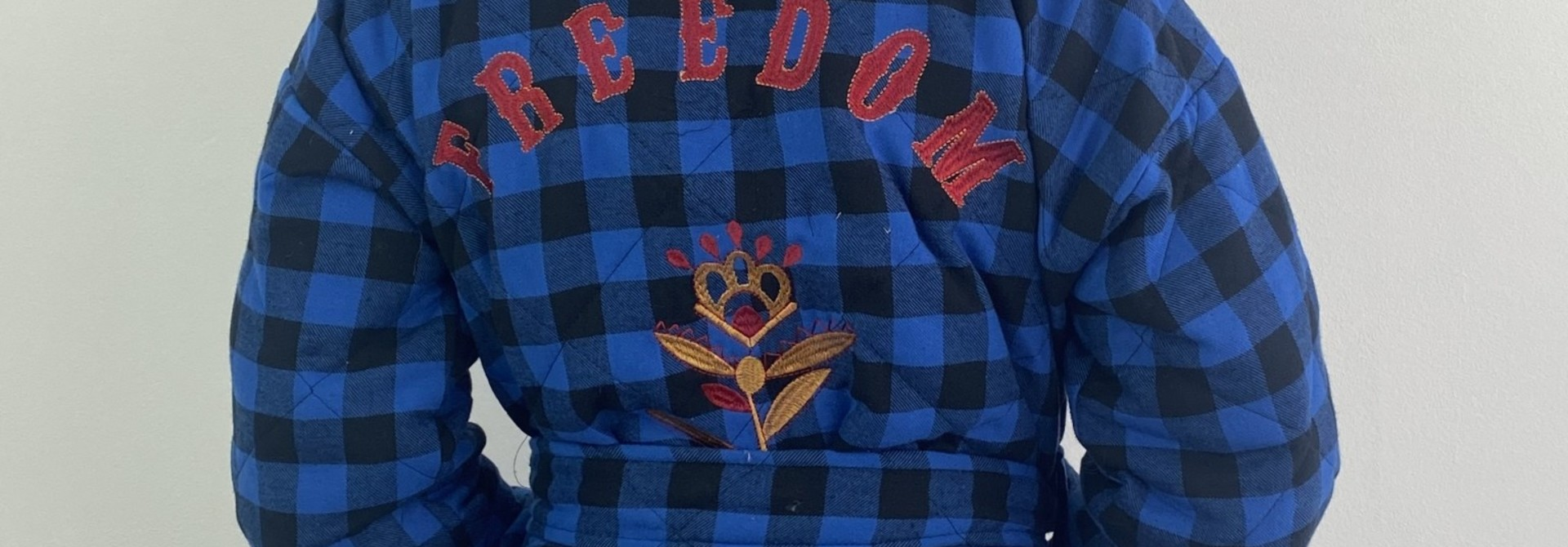 Toya padded kimono blazer Cobalt Check