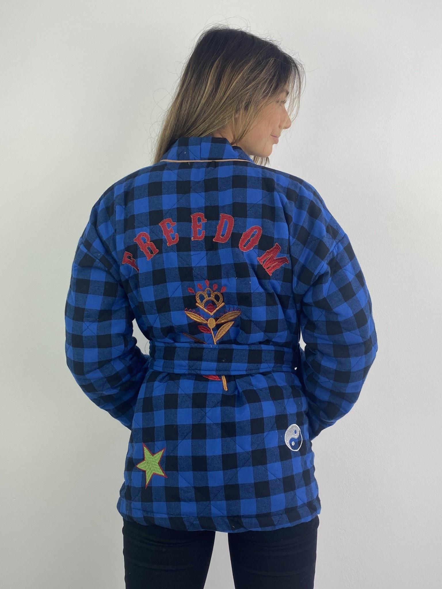 Toya padded kimono blazer Cobalt Check-1