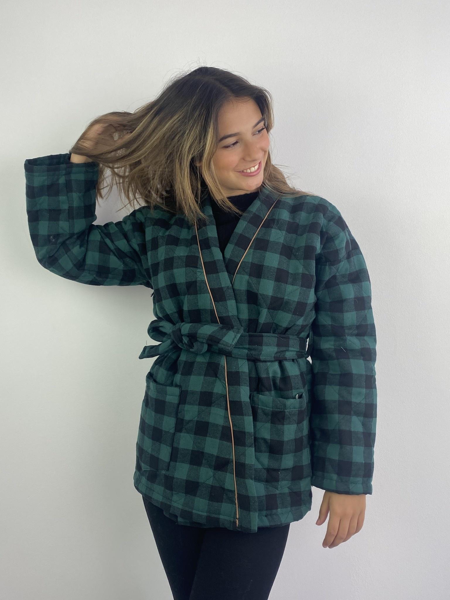 Toya padded kimono blazer Green Check-5