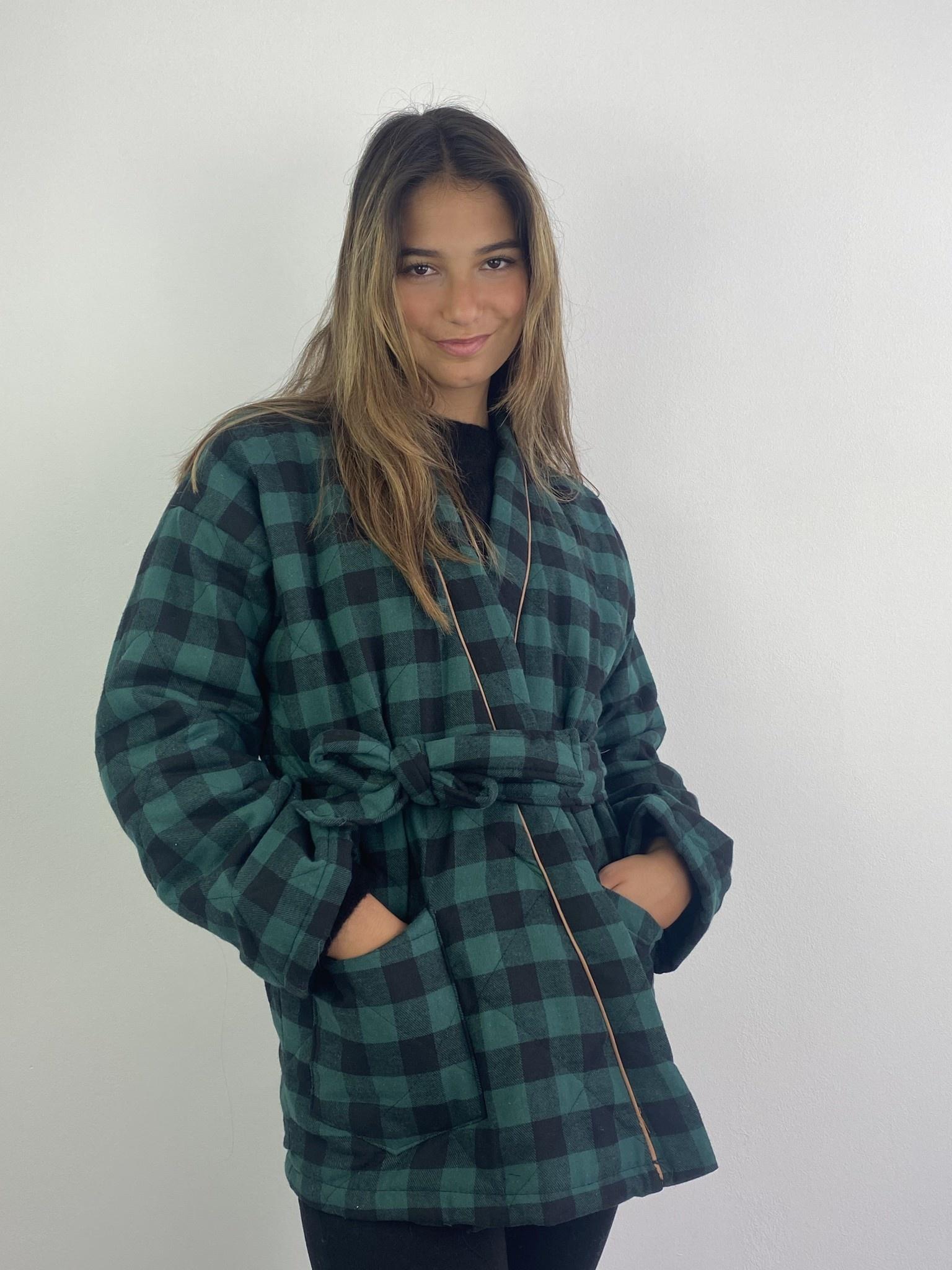 Toya padded kimono blazer Green Check-2