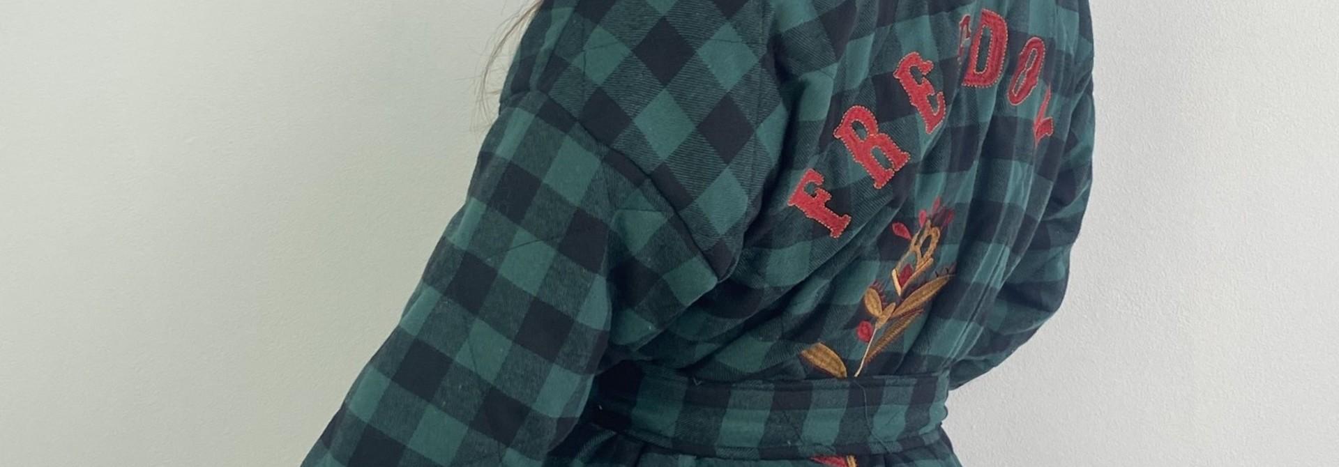 Toya padded kimono blazer Green Check