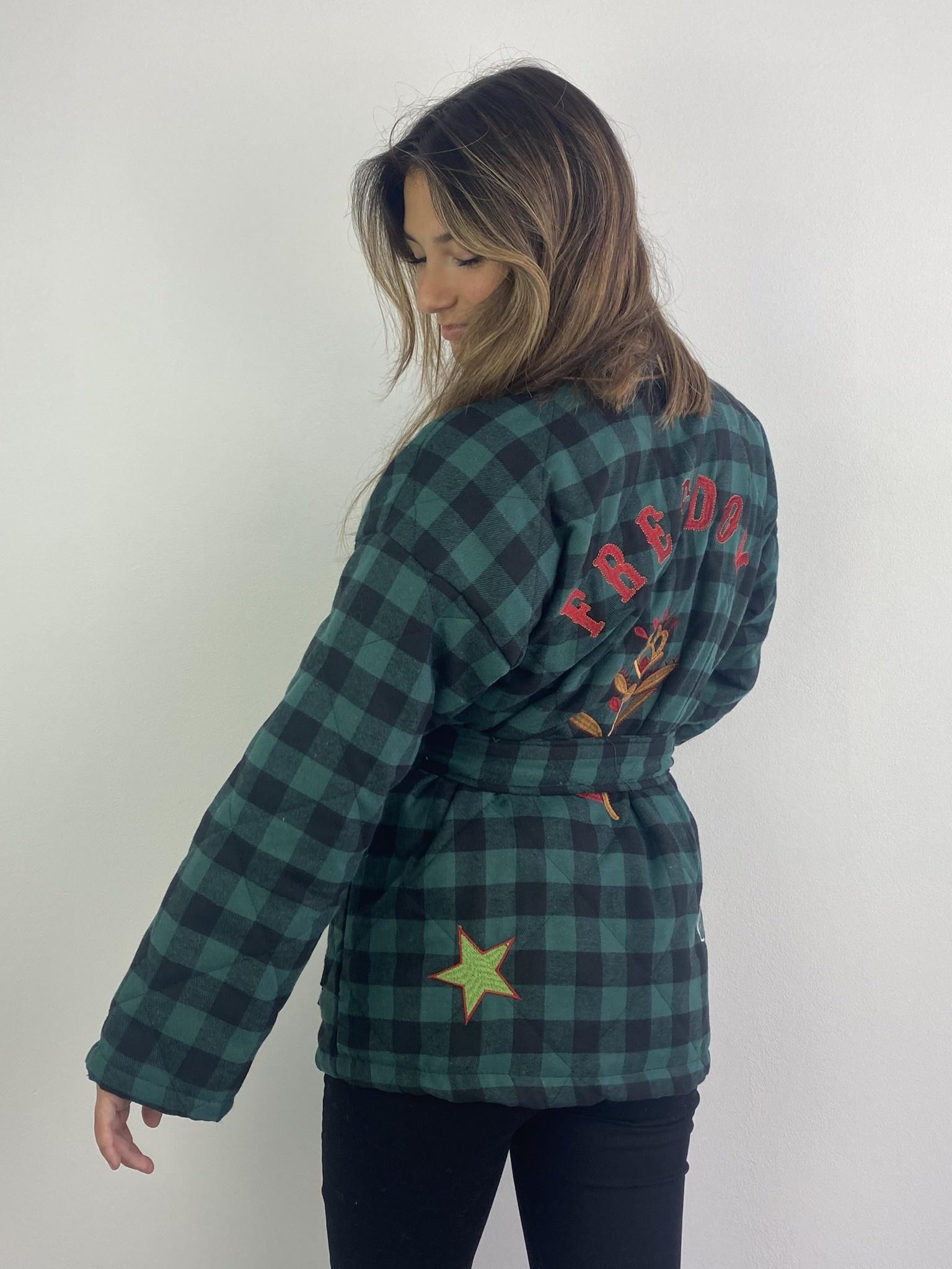Toya padded kimono blazer Green Check-1