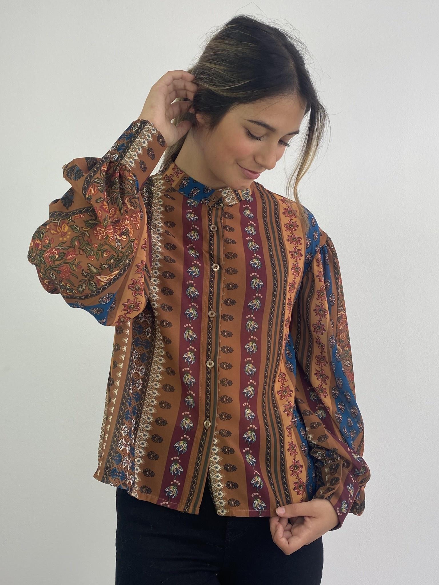 Faith ballonsleeve blouse Fleuri Camel-2