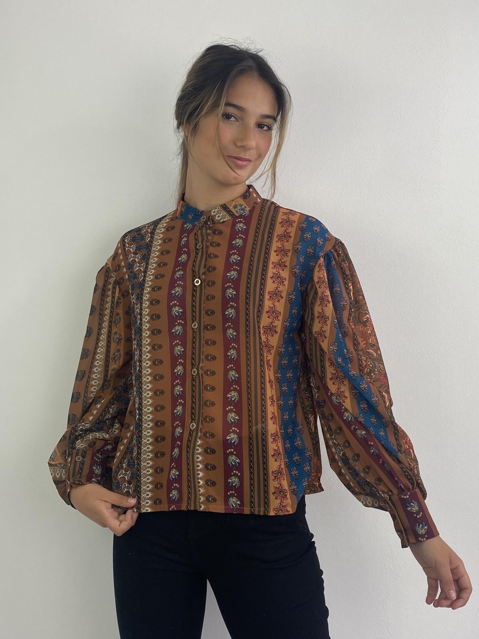 Faith ballonsleeve blouse Fleuri Camel-3