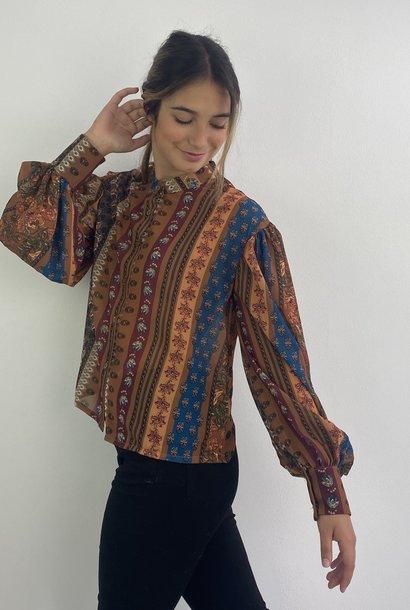 Faith ballonsleeve blouse Fleuri Camel