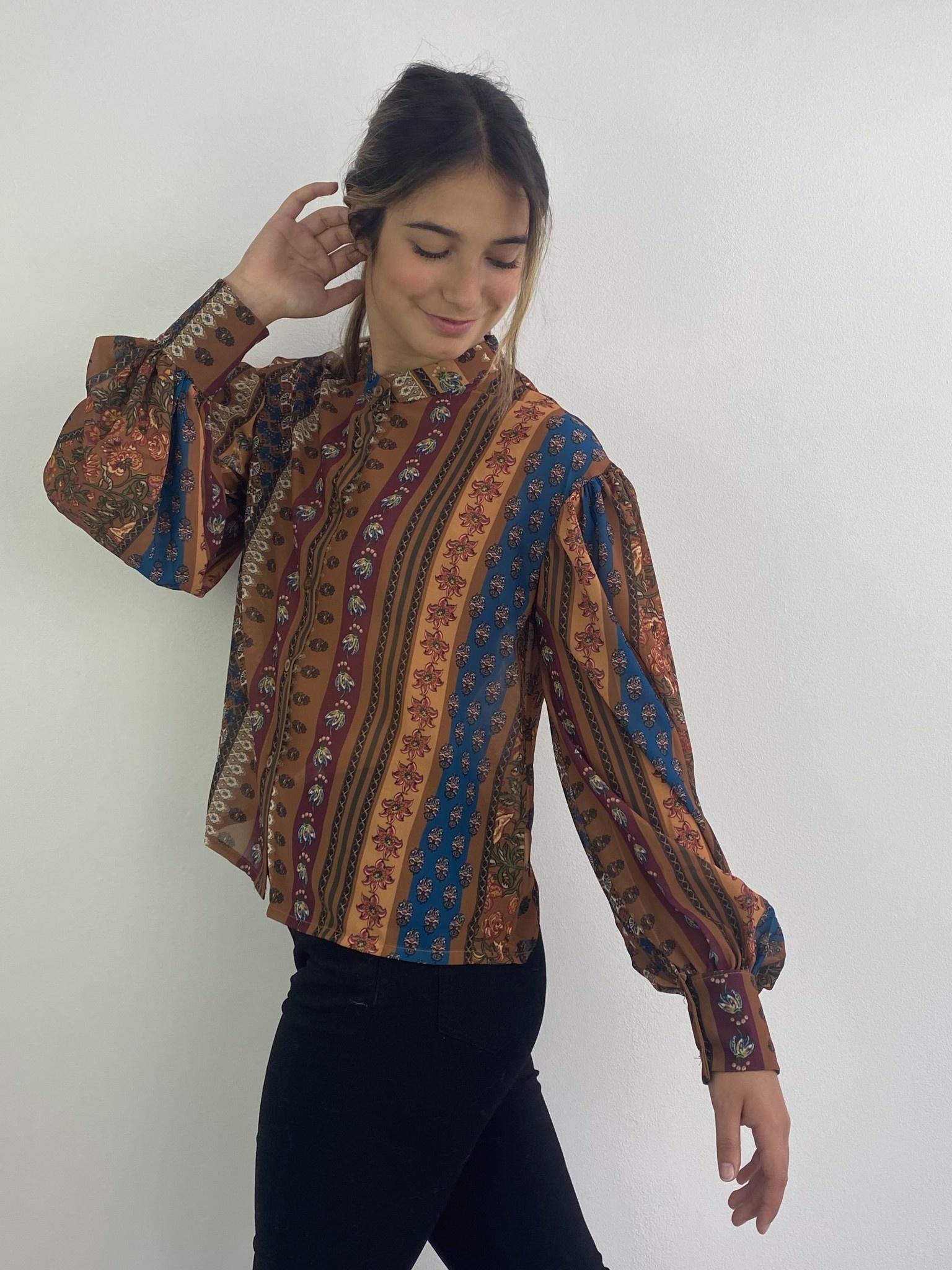 Faith ballonsleeve blouse Fleuri Camel-1