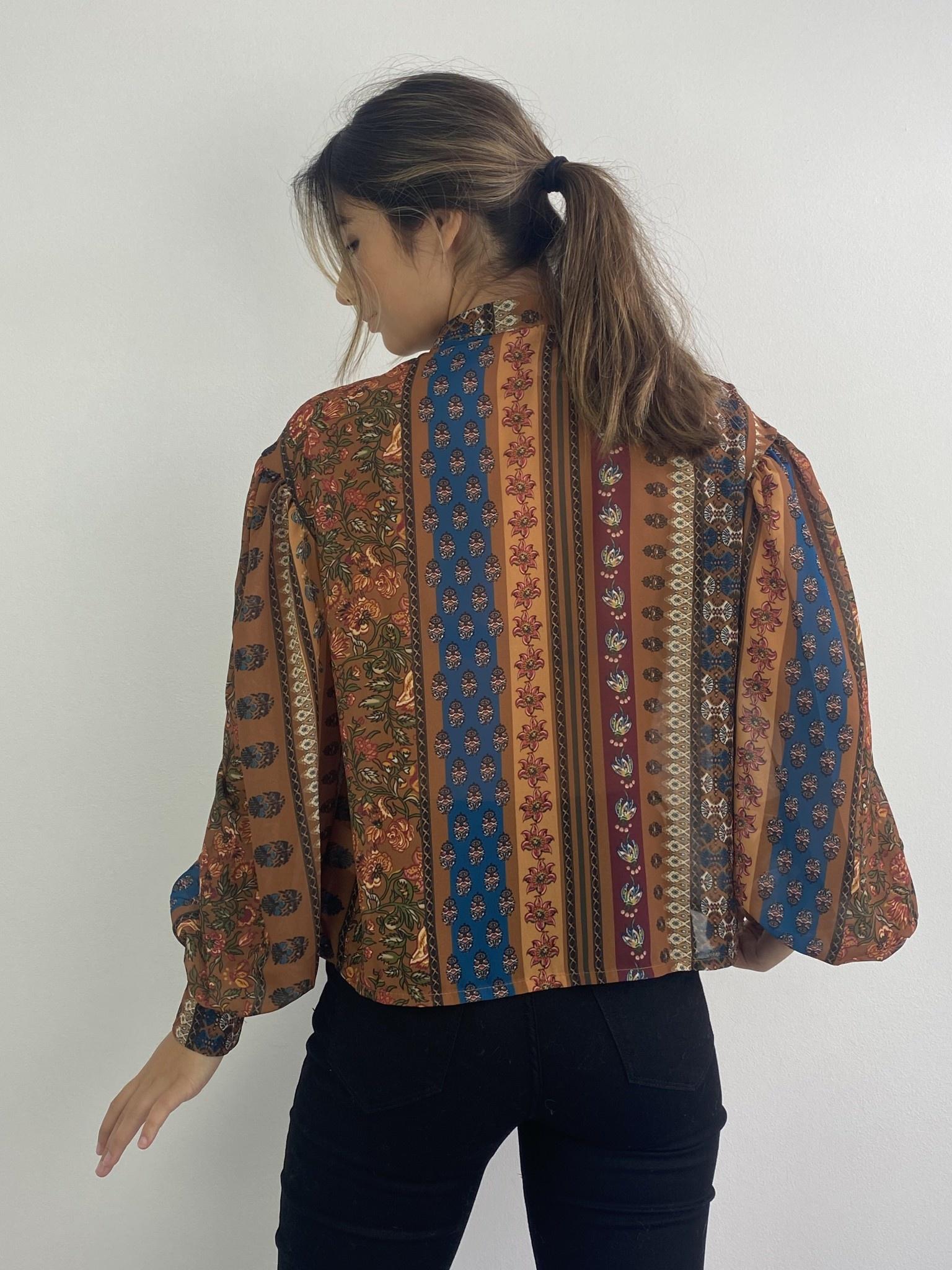 Faith ballonsleeve blouse Fleuri Camel-4