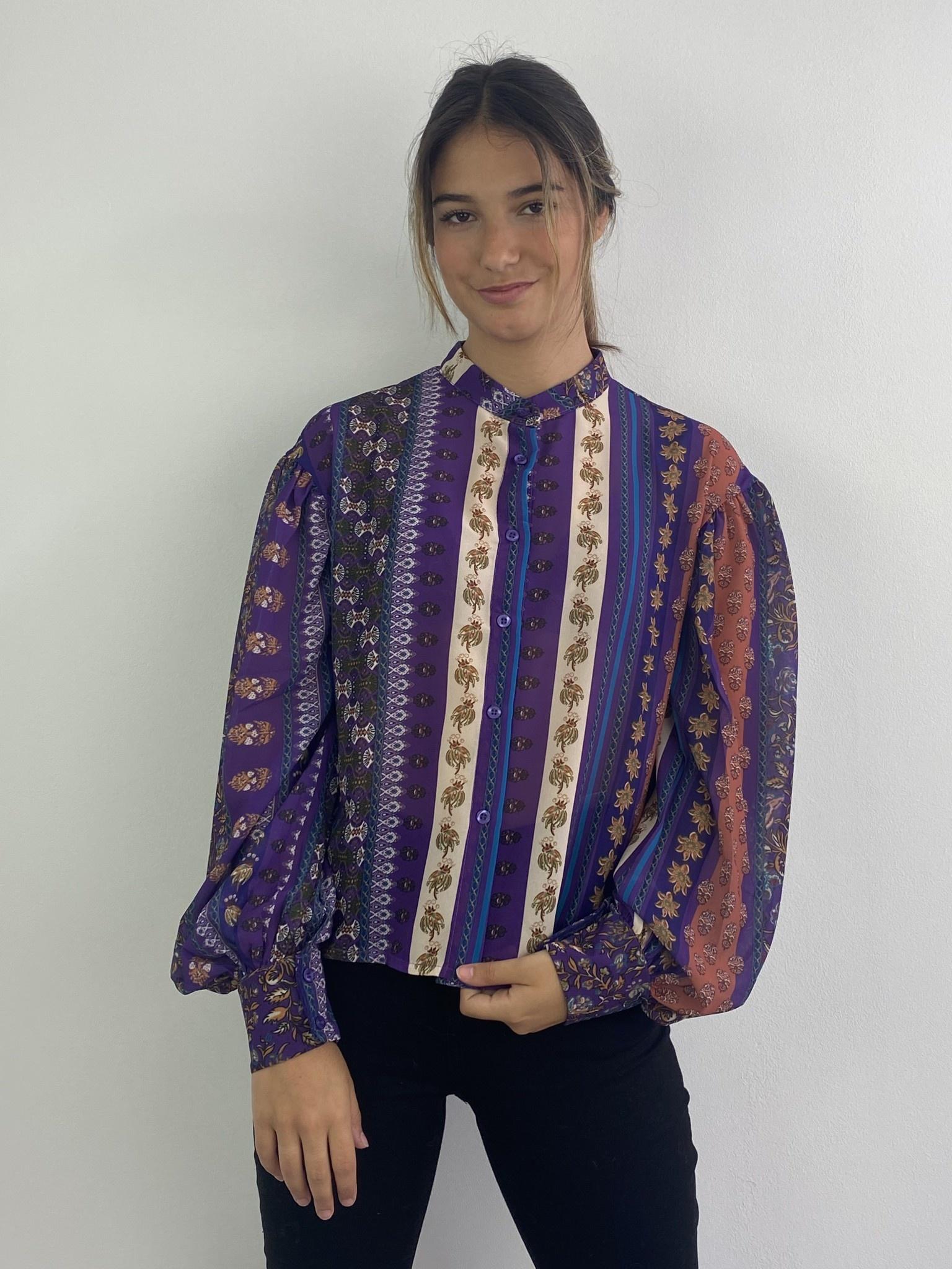 Faith ballonsleeve blouse Fleuri Violet-1